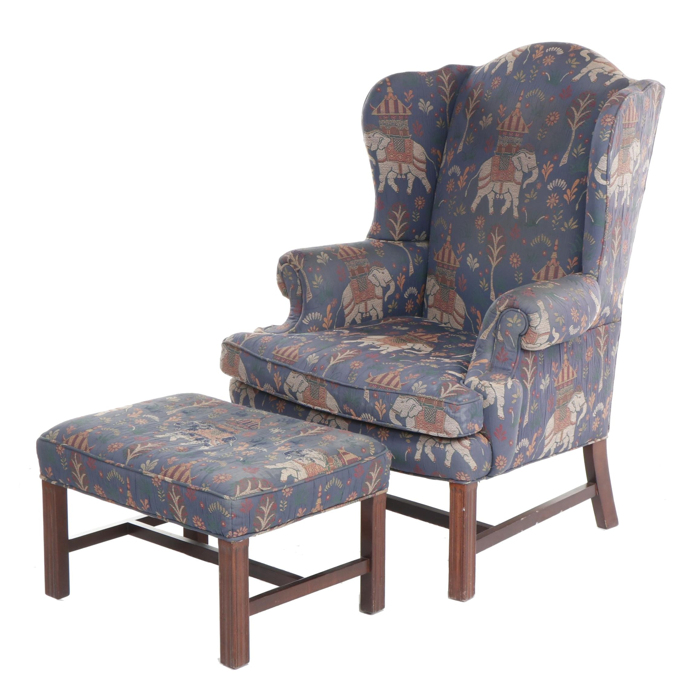 Sherrill Furniture Upholstered Wingback Armchair with Elephant Motif