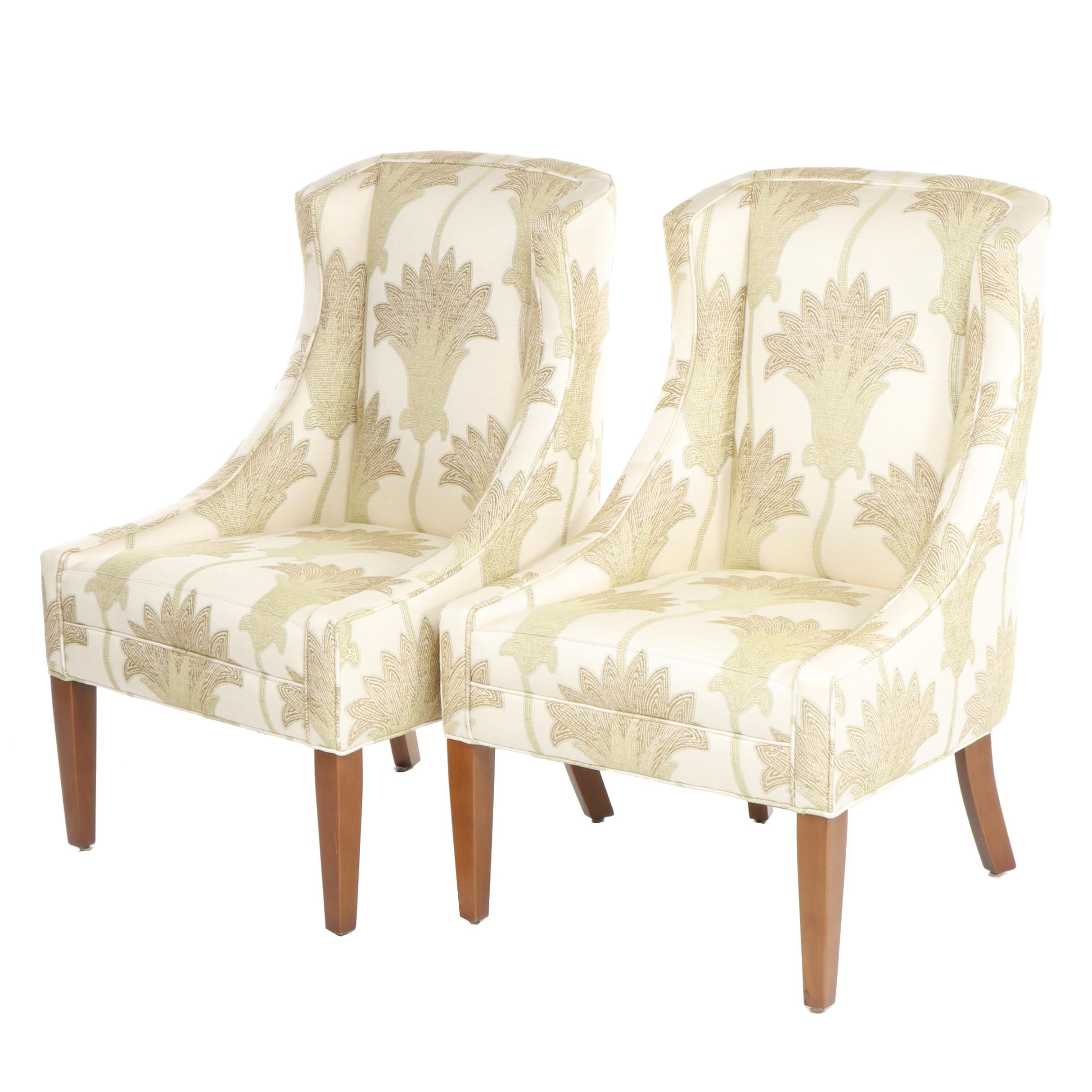 Pair of Contemporary Floral Upholstered Side Chairs