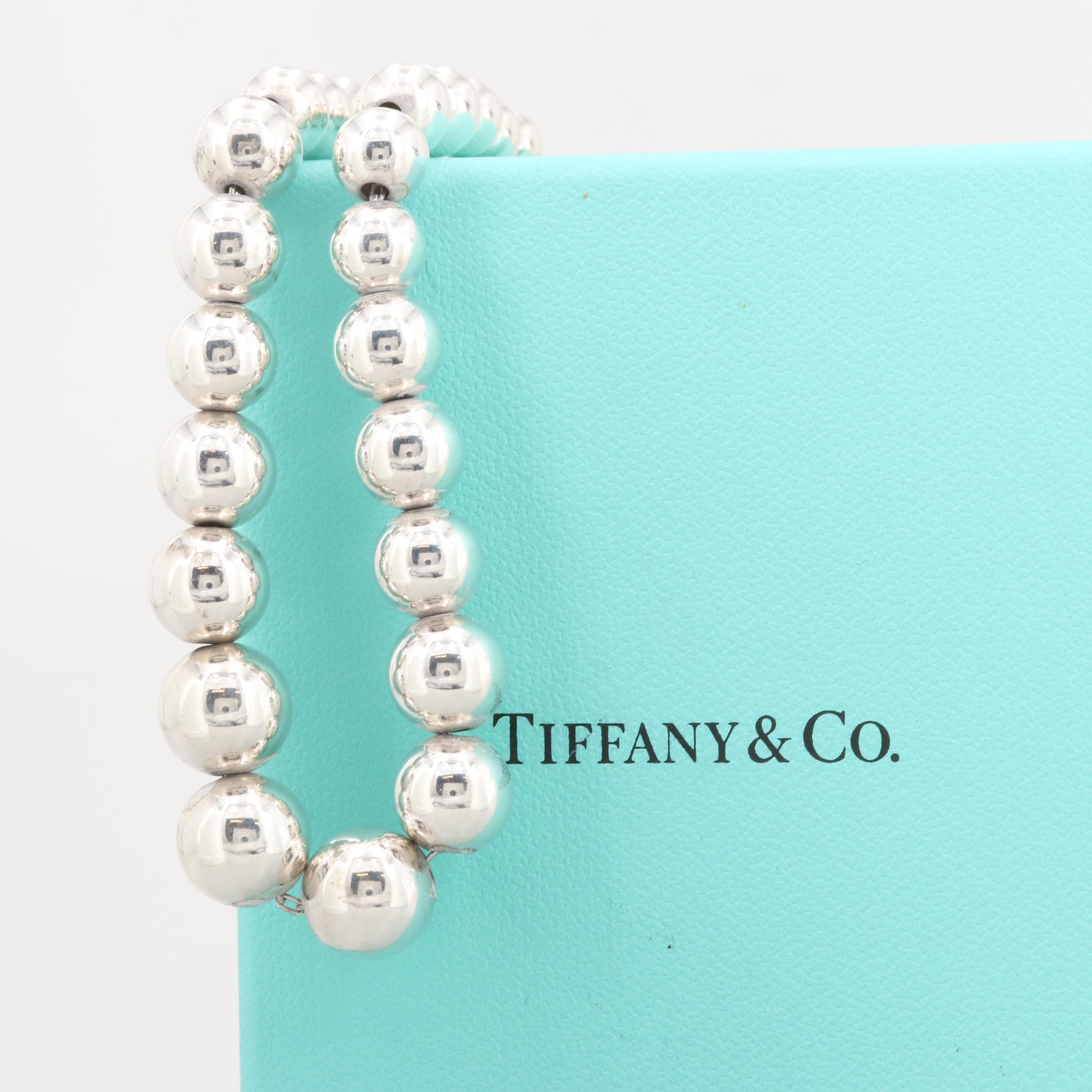 """Tiffany & Co. Sterling Silver Graduated Beaded """"Hardware"""" Necklace"""