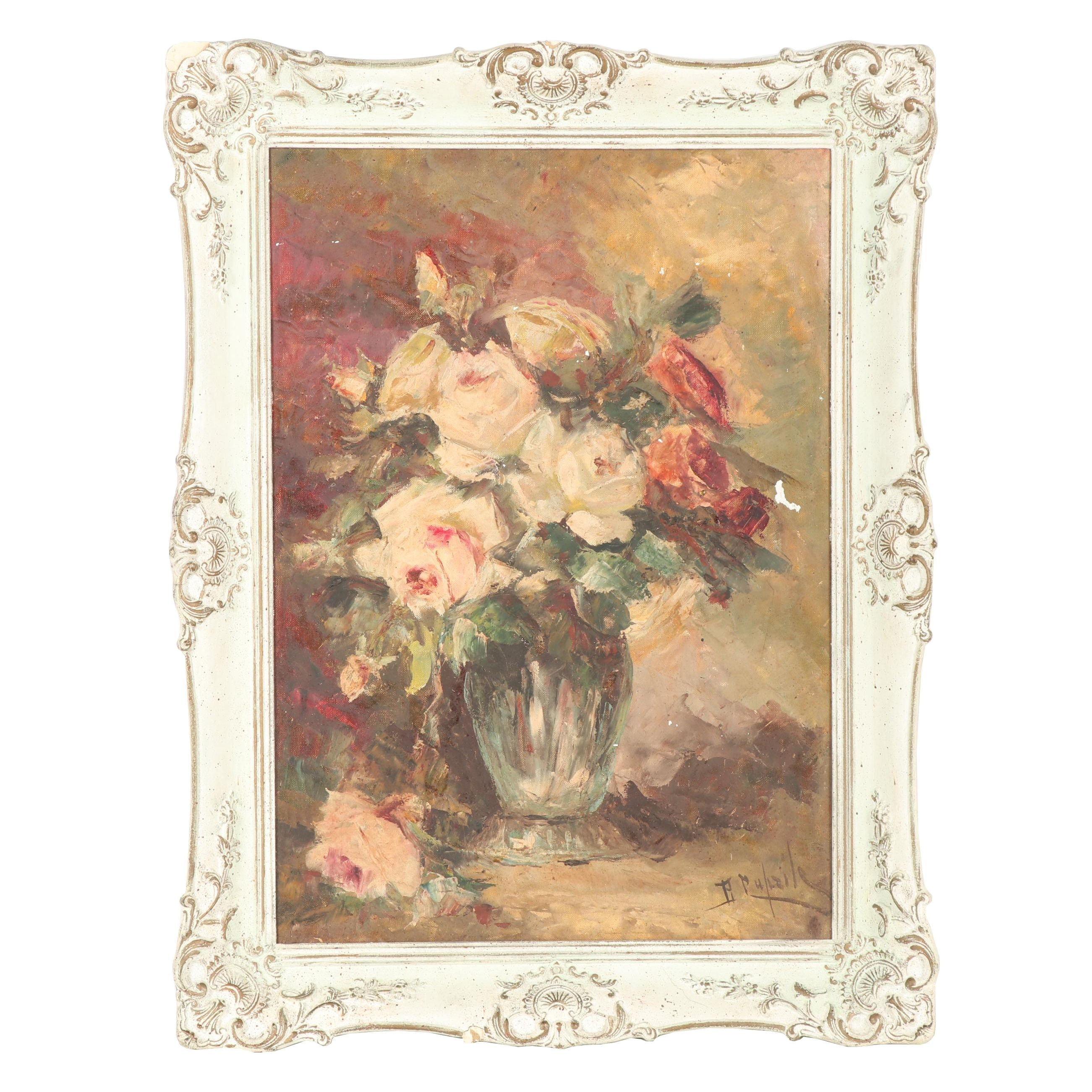 Early-Mid 20th Century Floral Still Life Oil Painting