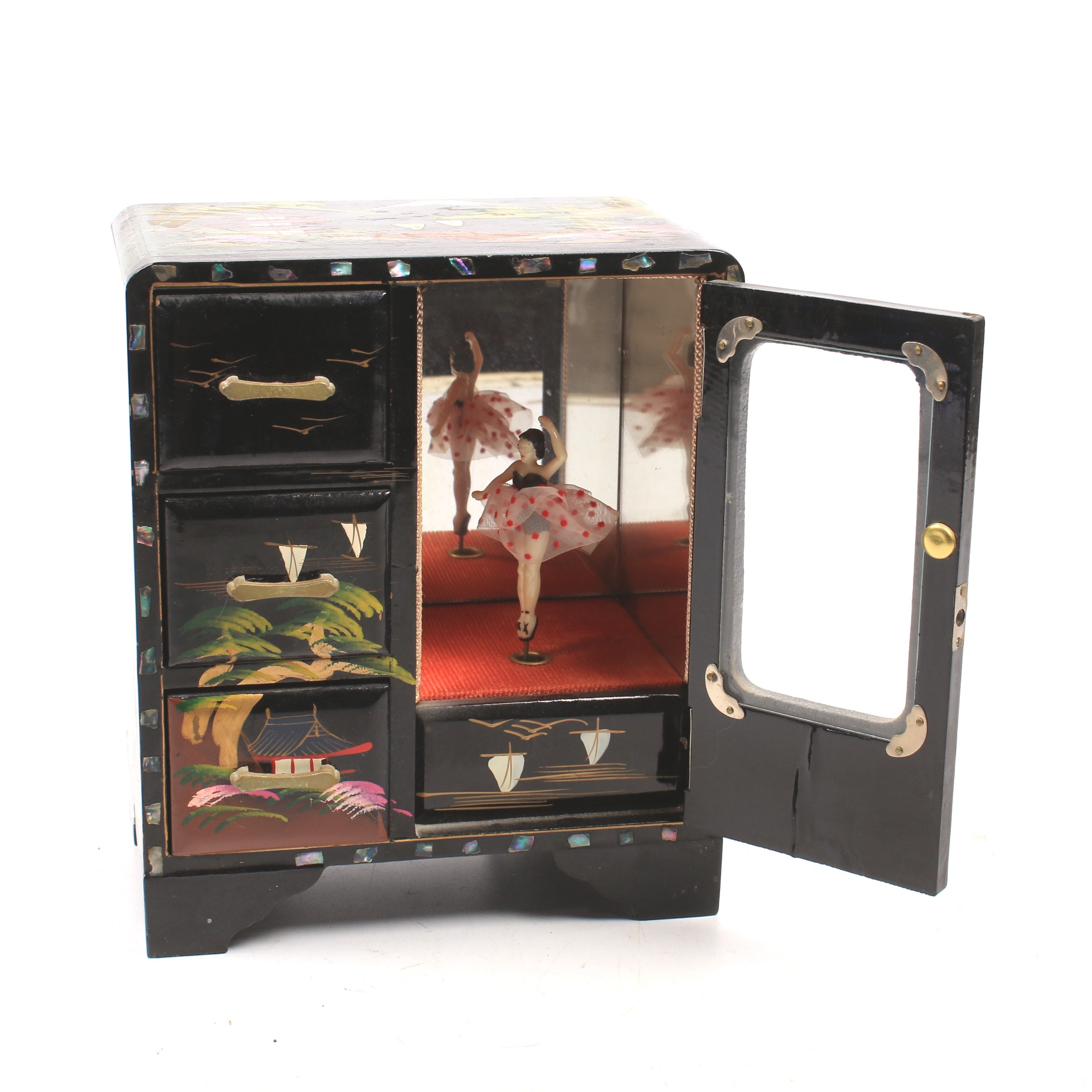 Japanese Handpainted Lacquer and Mother of Pearl Musical Jewelry Box