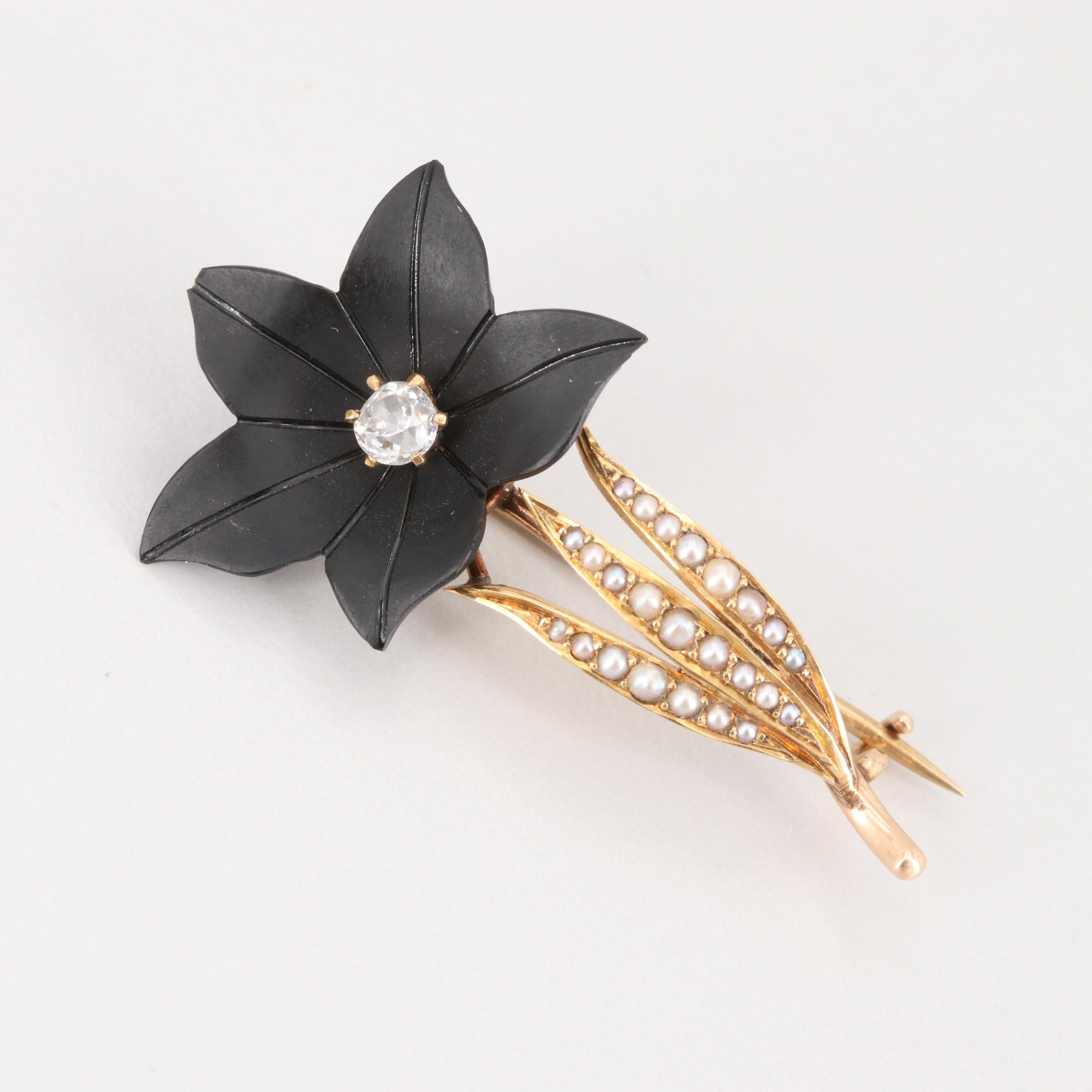 Late Victorian 14K Yellow Gold Diamond, Black Onyx and Seed Pearl Brooch
