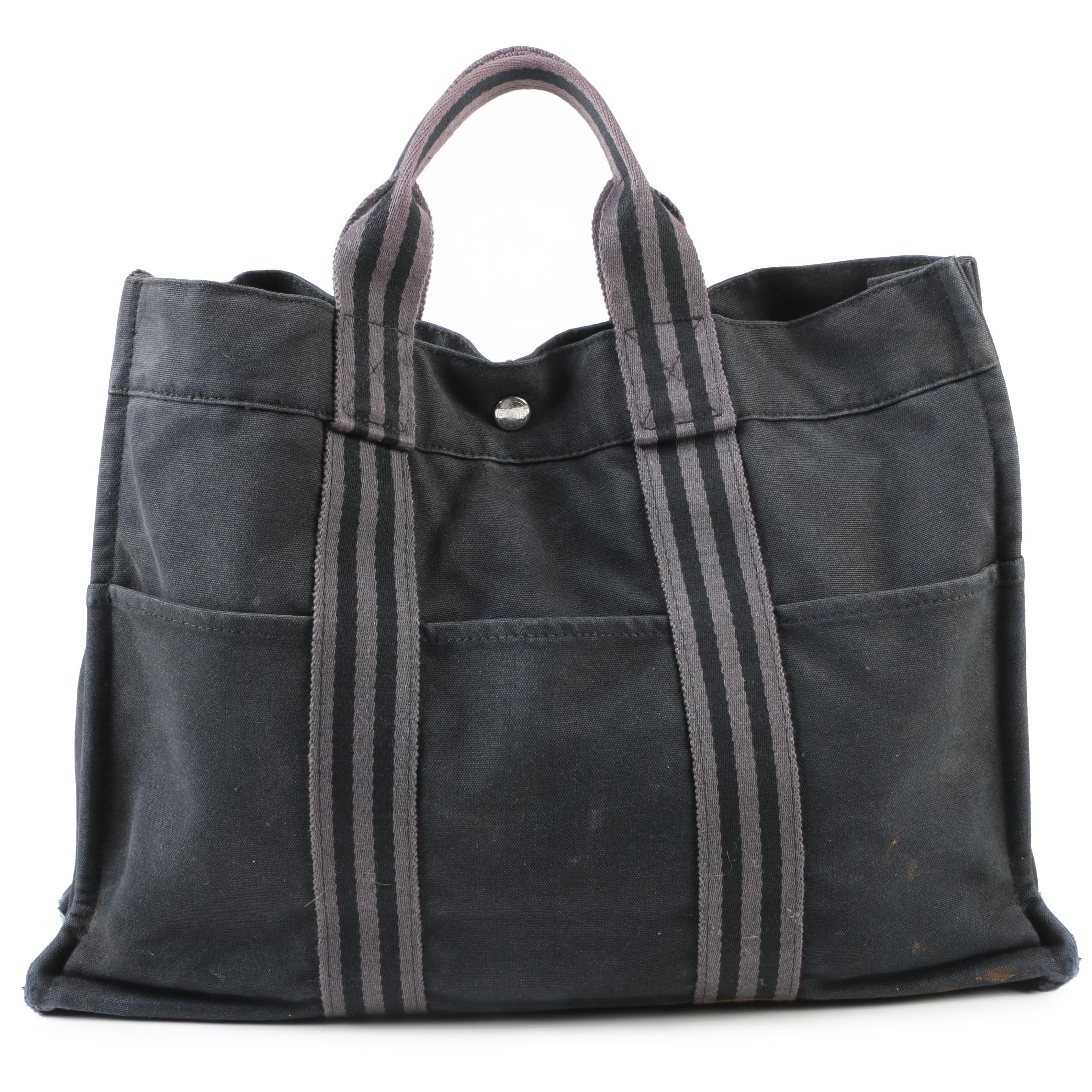 Hermès Paris Black and Grey Canvas Fourre Tout MM Tote, Made in France