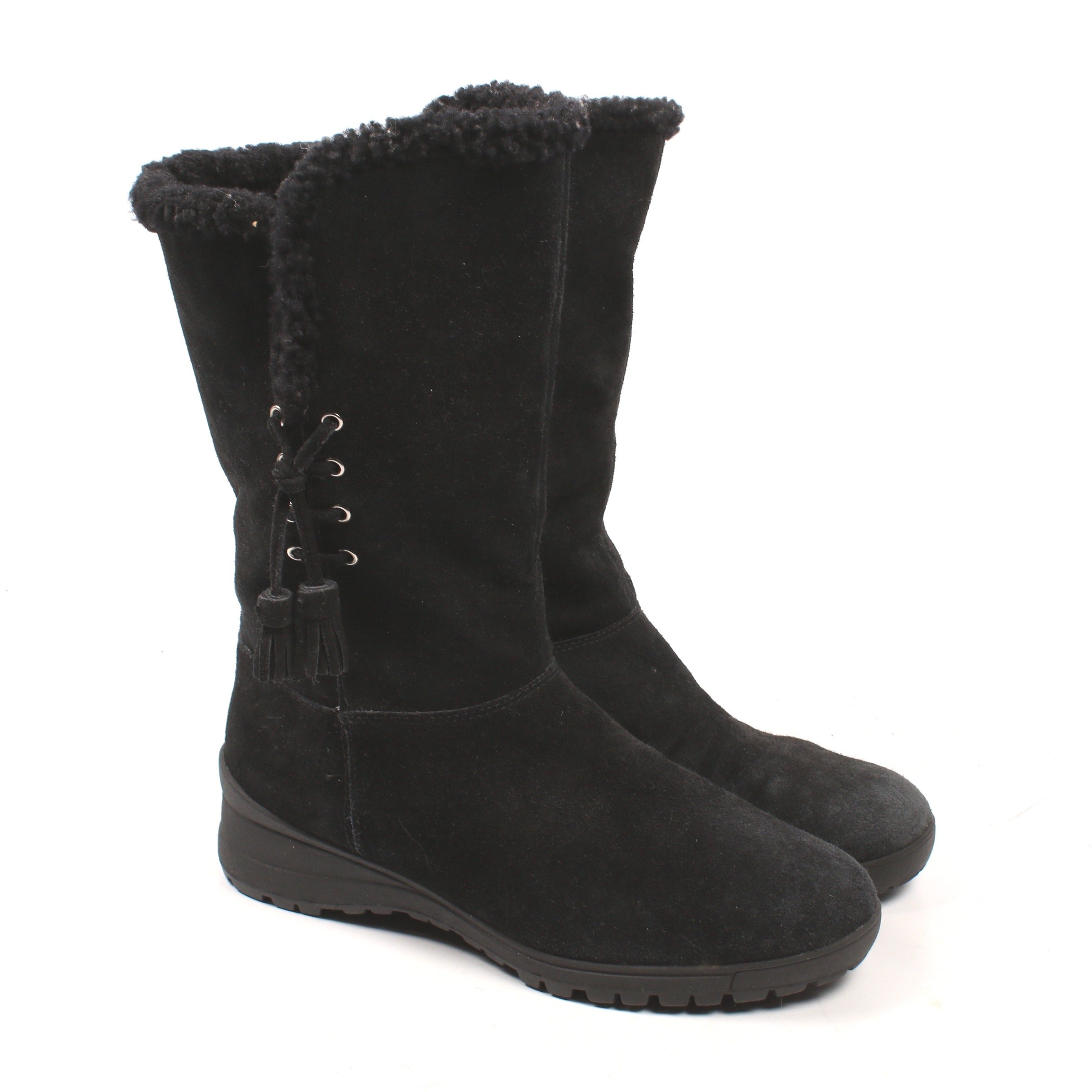 Ralph Lauren Black Suede and Shearling Tadina Boots