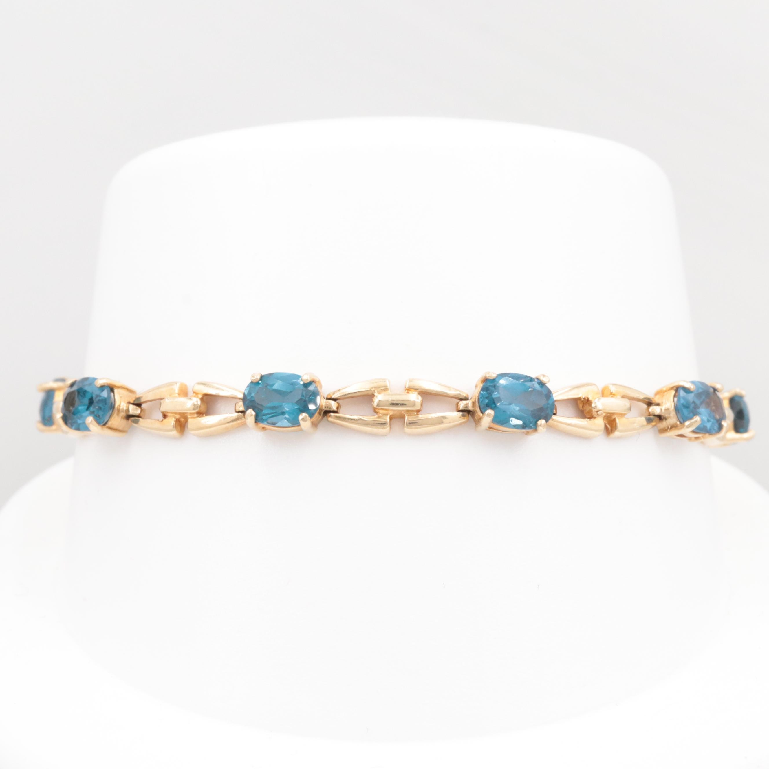 10K Yellow Gold Synthetic Spinel Bracelet