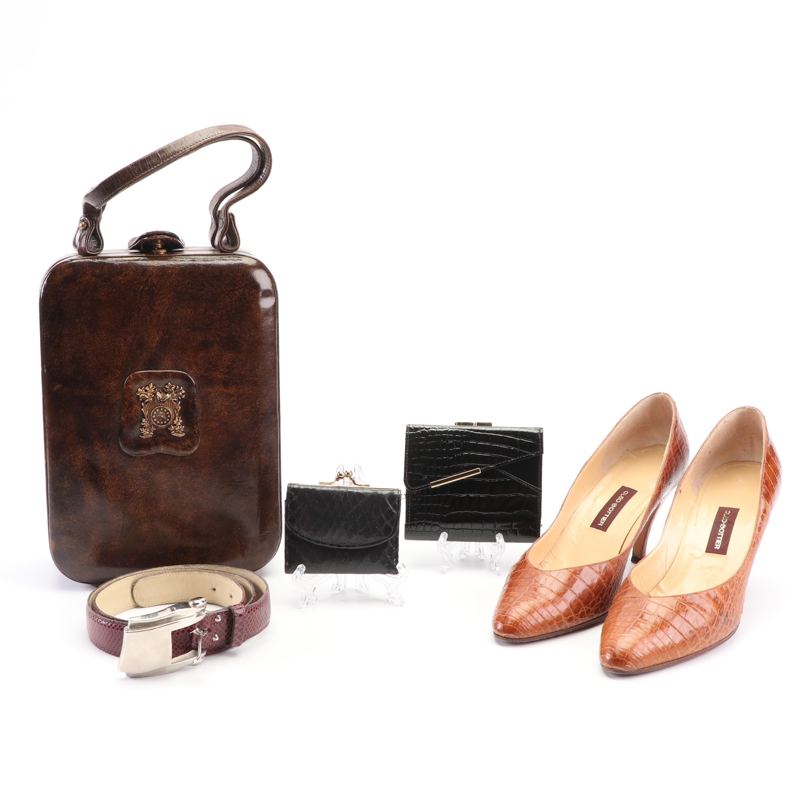 Cece Kieselstein Cord Belt, Alligator Pumps, Snakeskin Coin Purse and more