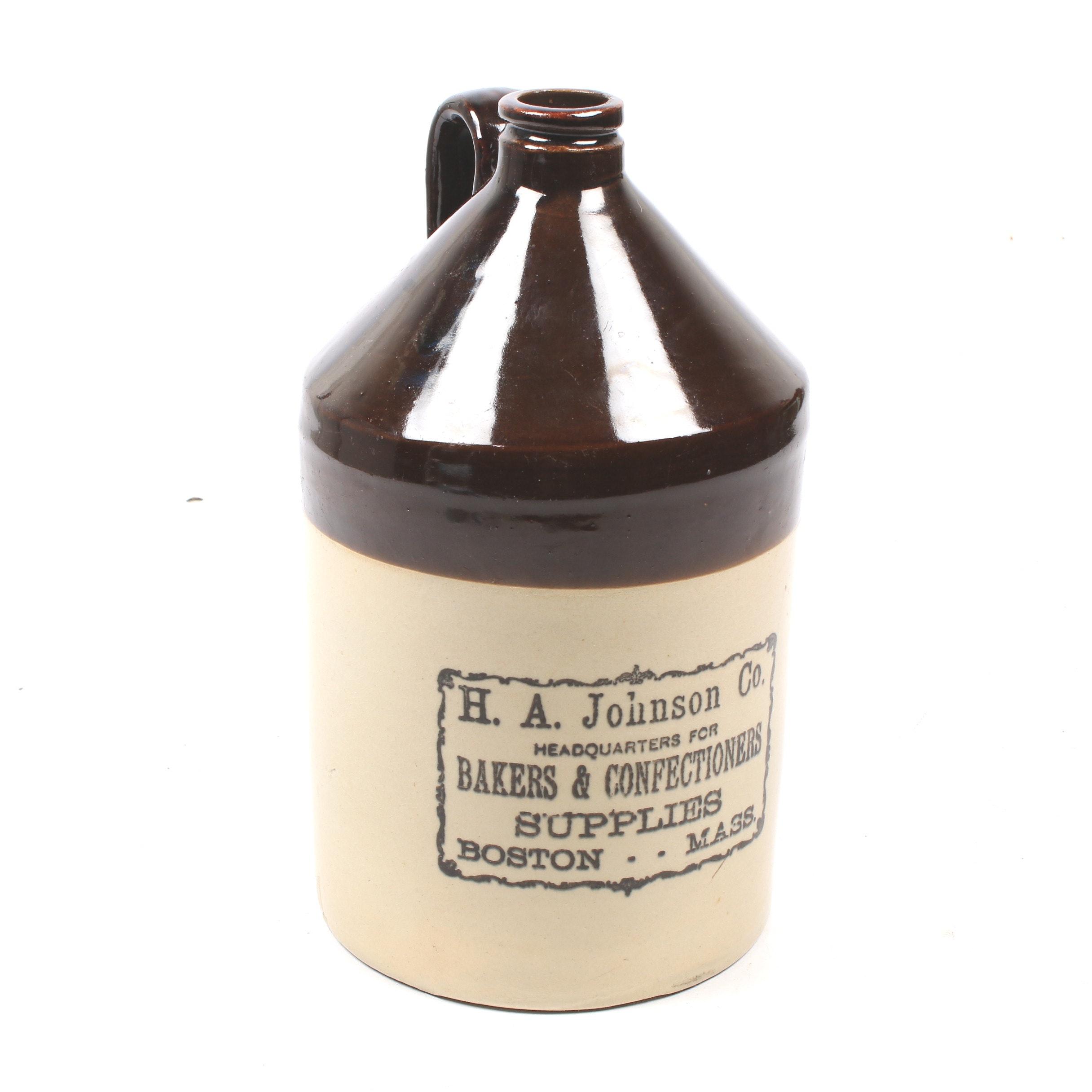 H. A. Johnson Co. Salt Glazed Stoneware Jug, Early 20th Century