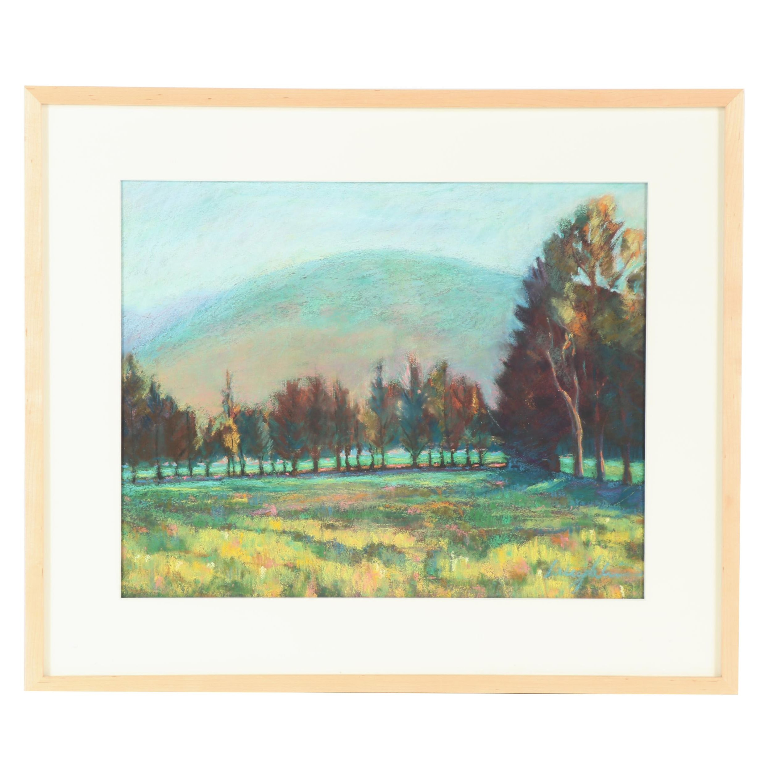 Late 20th Century Meadow Landscape Oil Pastel Drawing