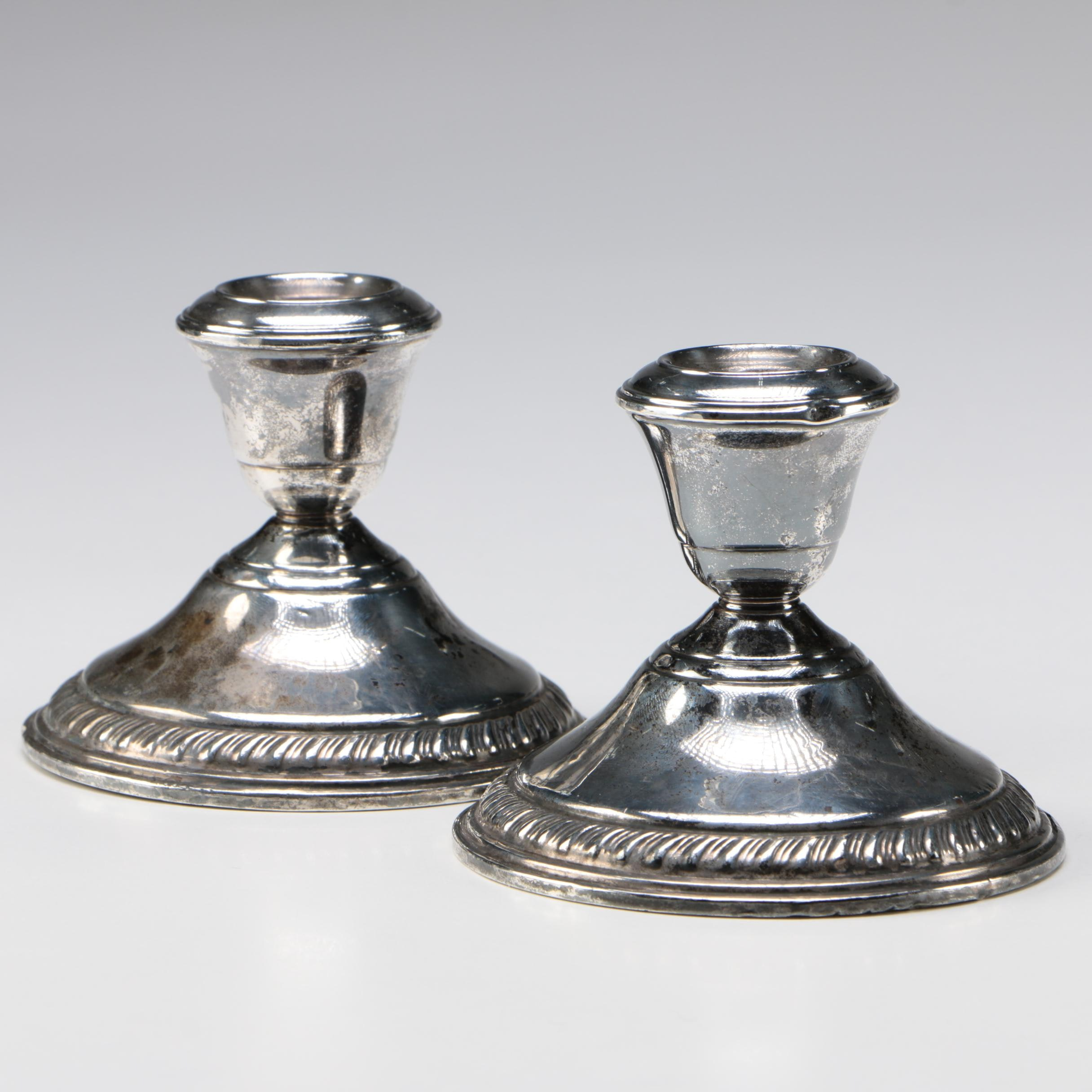 Schweitzer Silver Corp. Weighted Sterling Silver Candleholders, Mid-Century