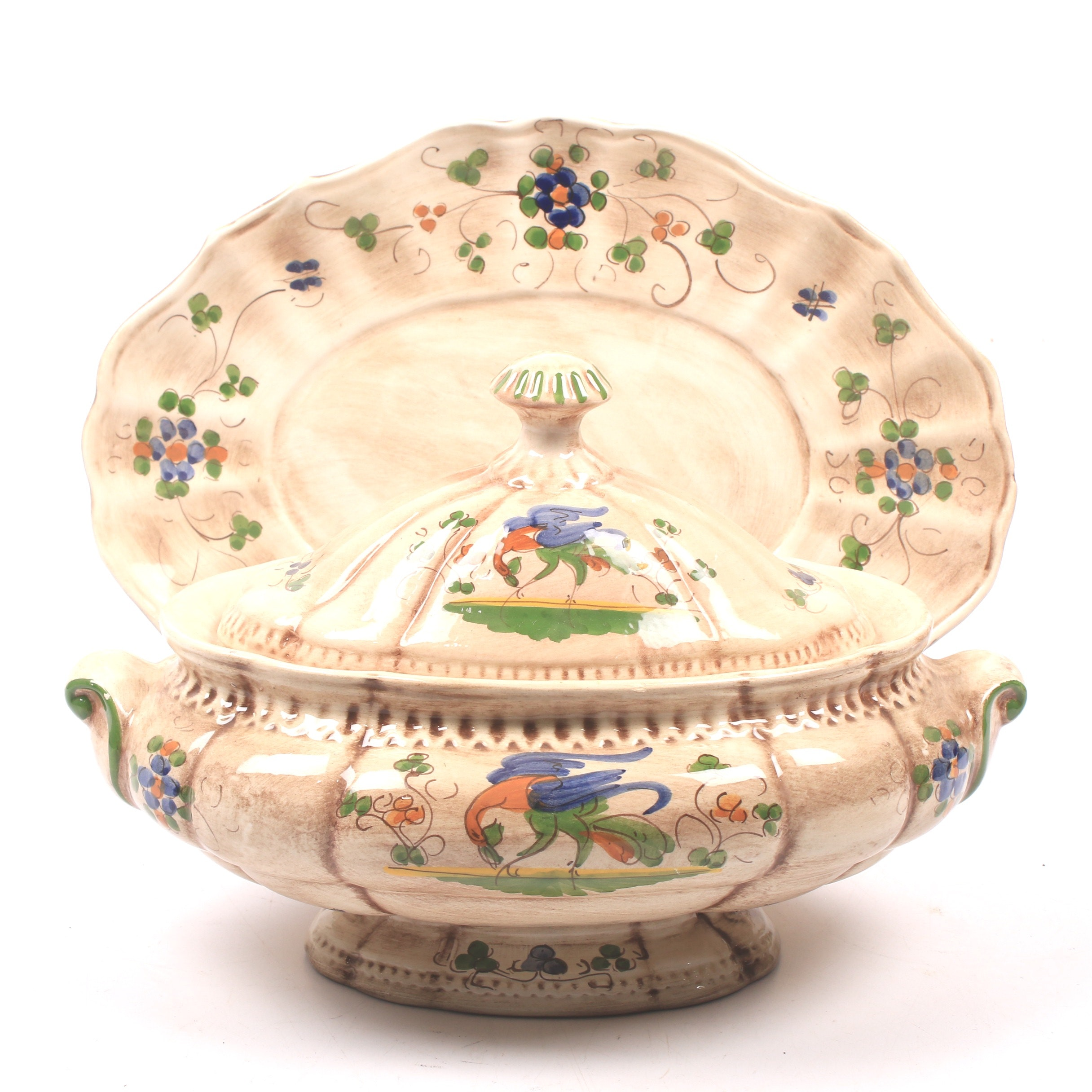 Hand-Painted Porcelain Tureen with Underplate
