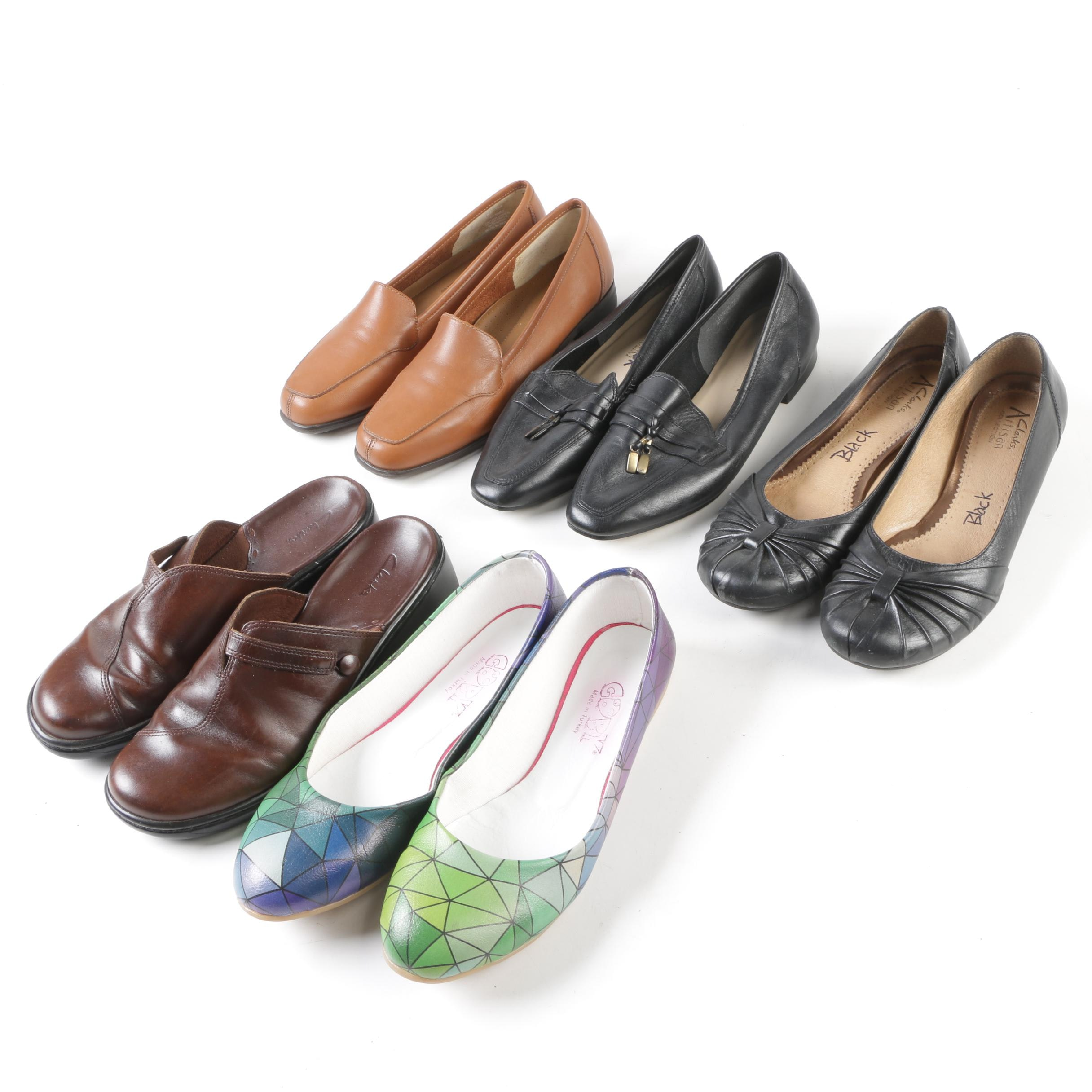Women's Flats and Mules Including Enzo Angiolini and Clarks