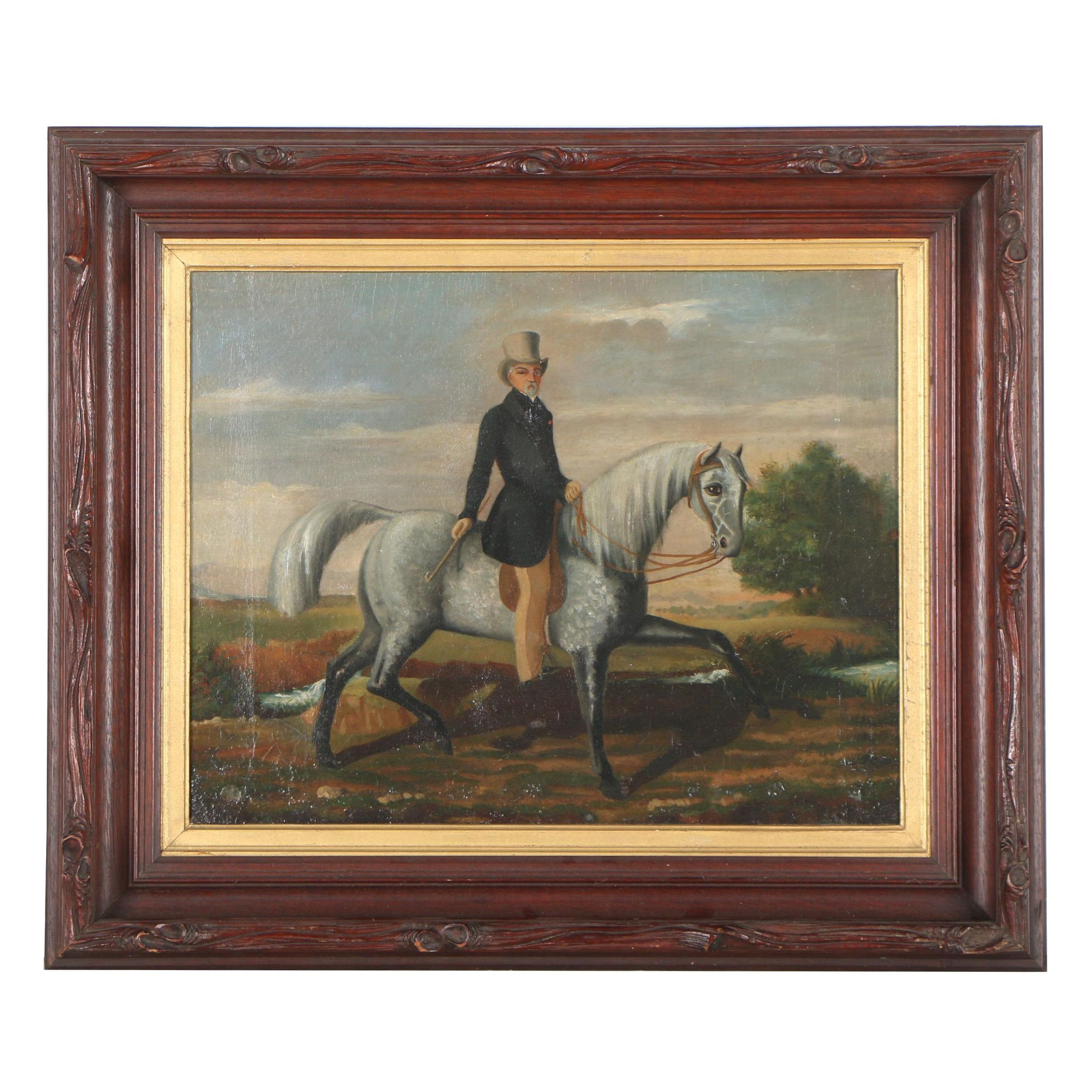 Mid 19th Century American School Oil Painting of Gentleman on Horseback
