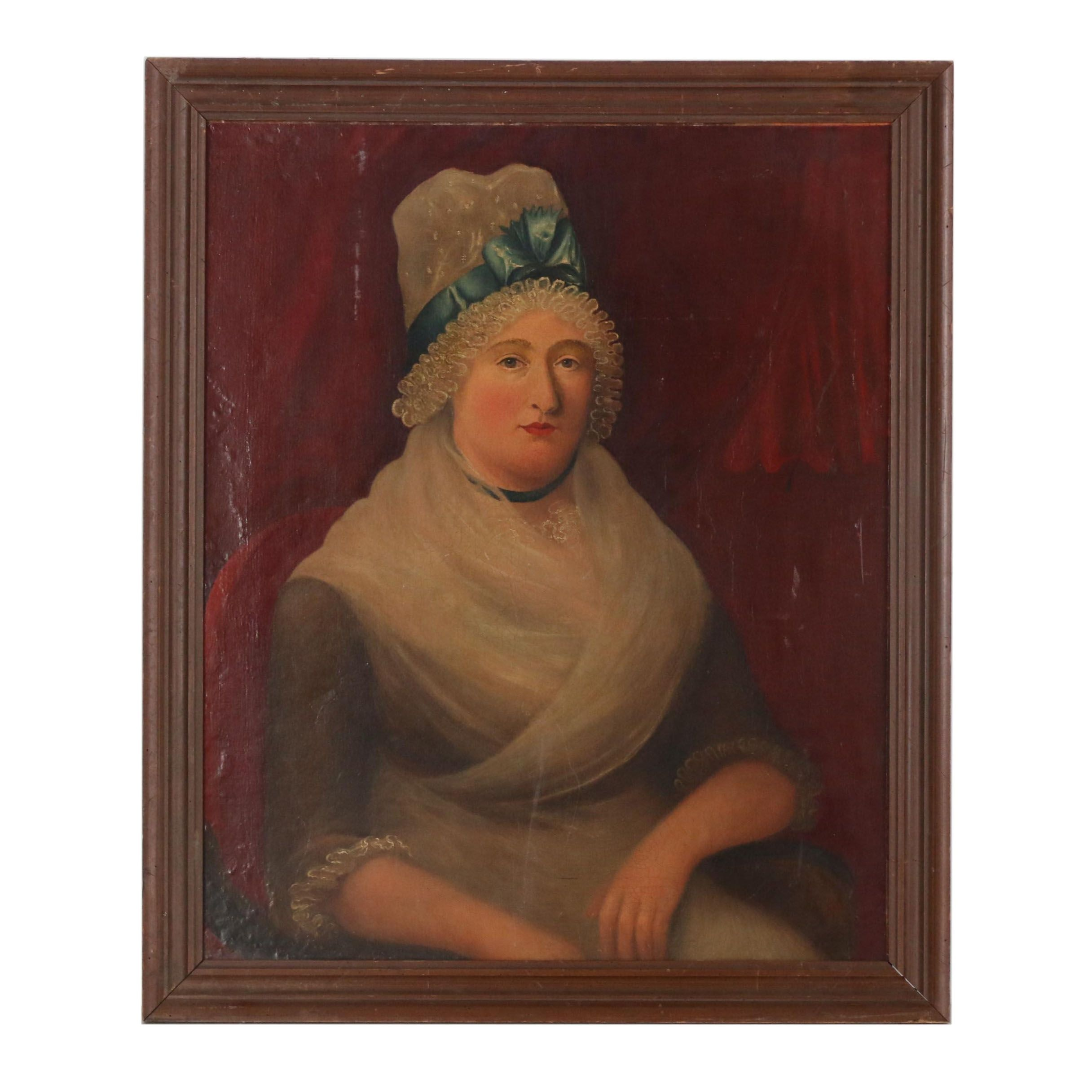 Early 20th Century Folk Style Oil Portrait