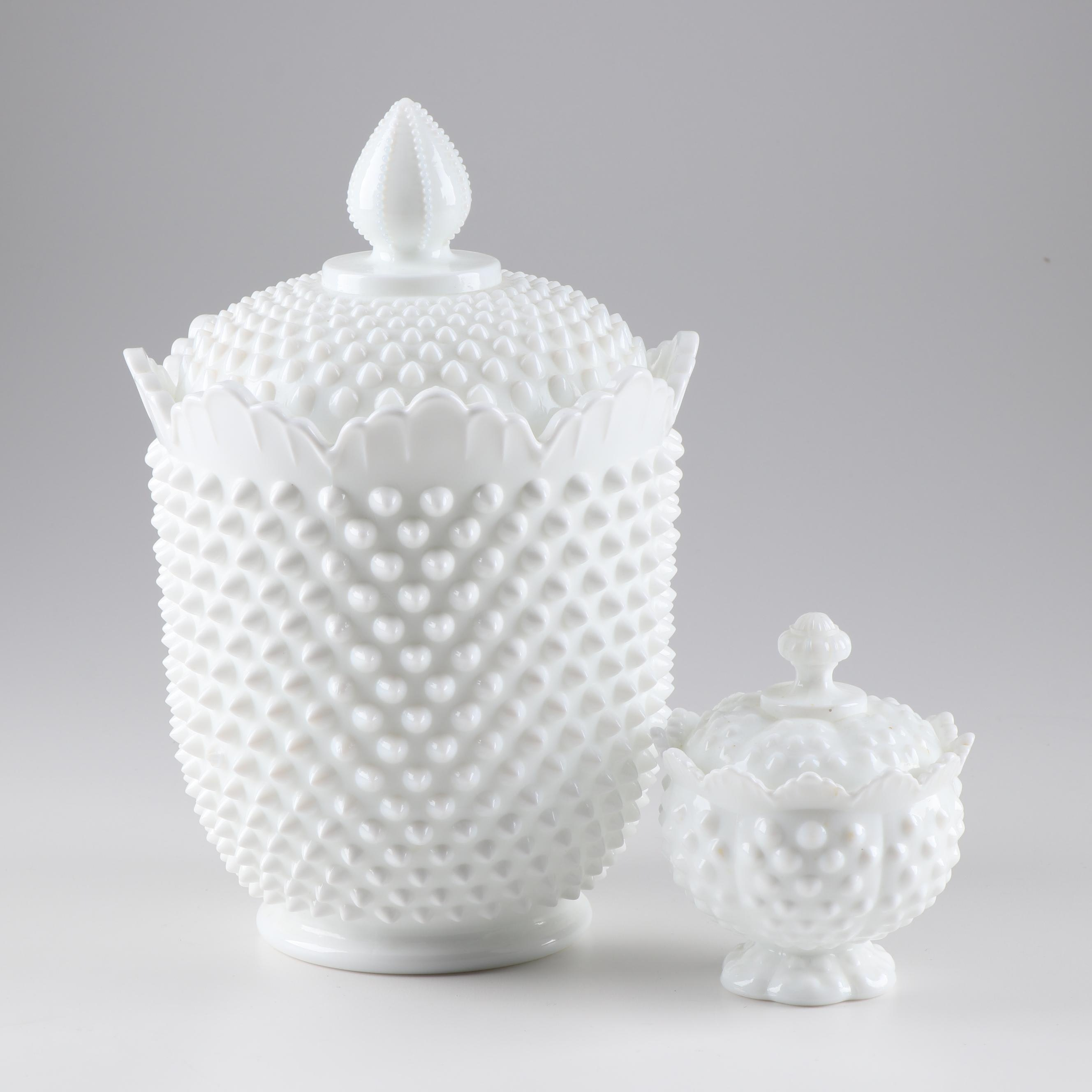 """Fenton """"Hobnail"""" Milk Glass Canister and Sugar Bowl"""