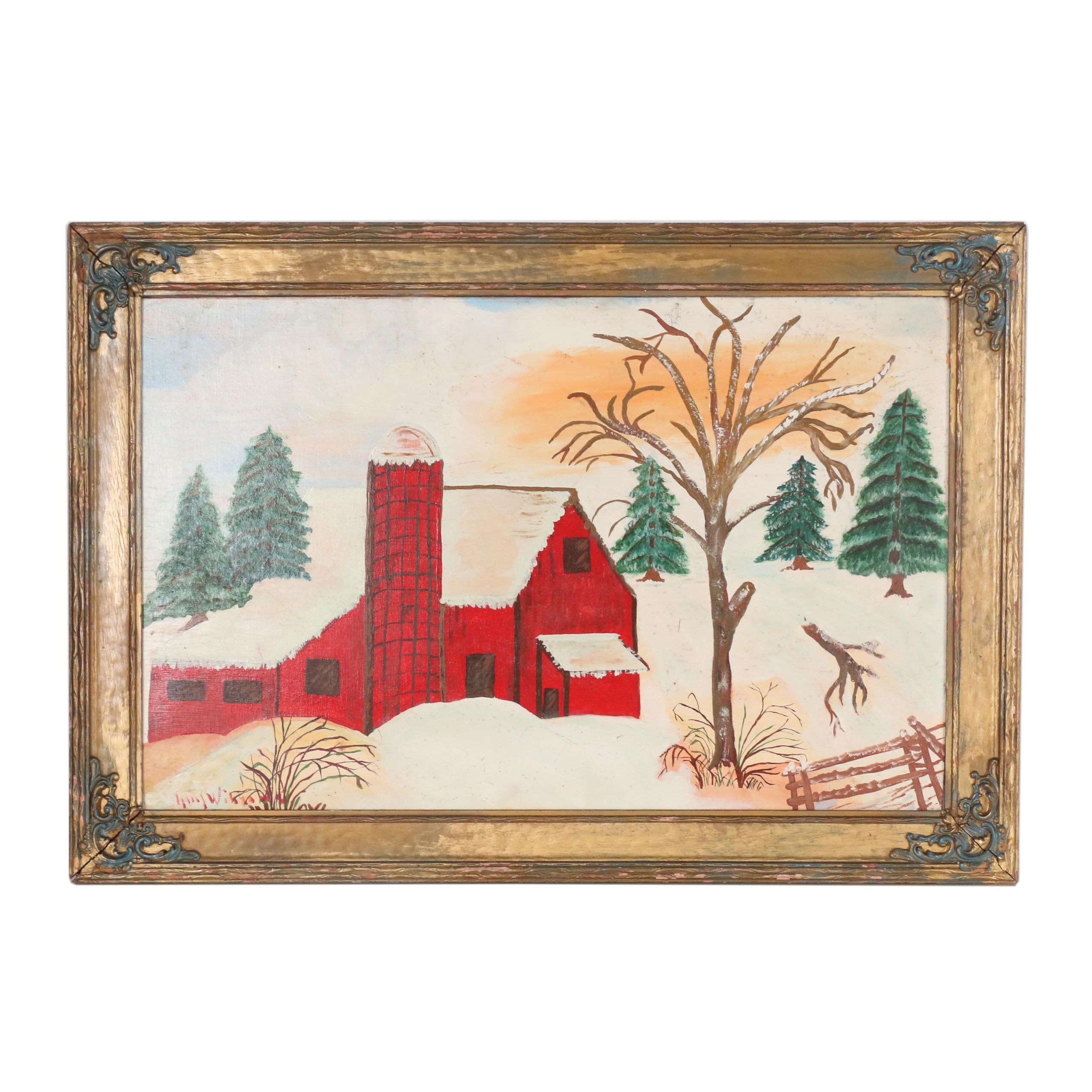 Mid-Late 20th Century Folk Style Oil Painting of a Barn