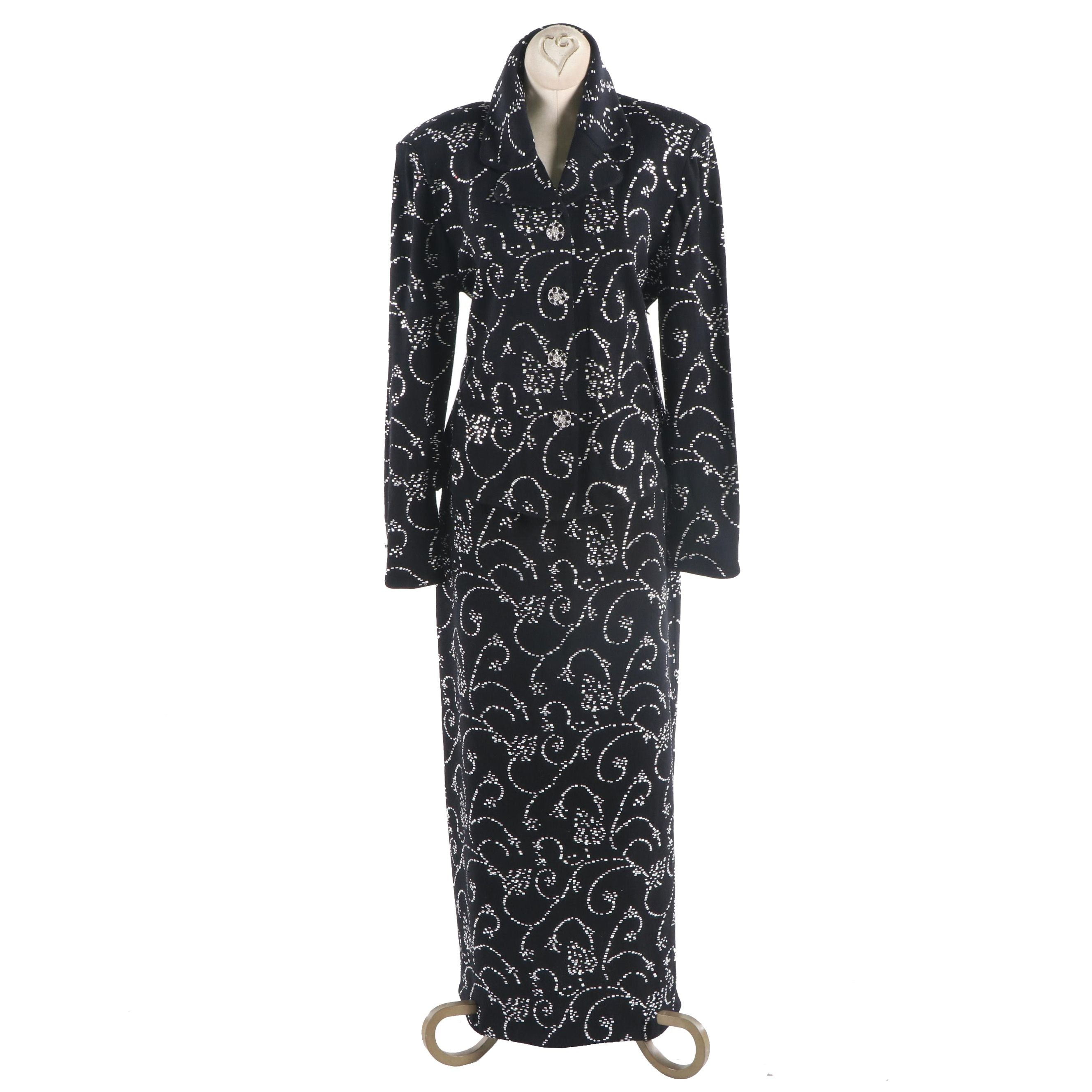St. John Couture Embellished Black Knit Evening Skirt Suit with Scrolls