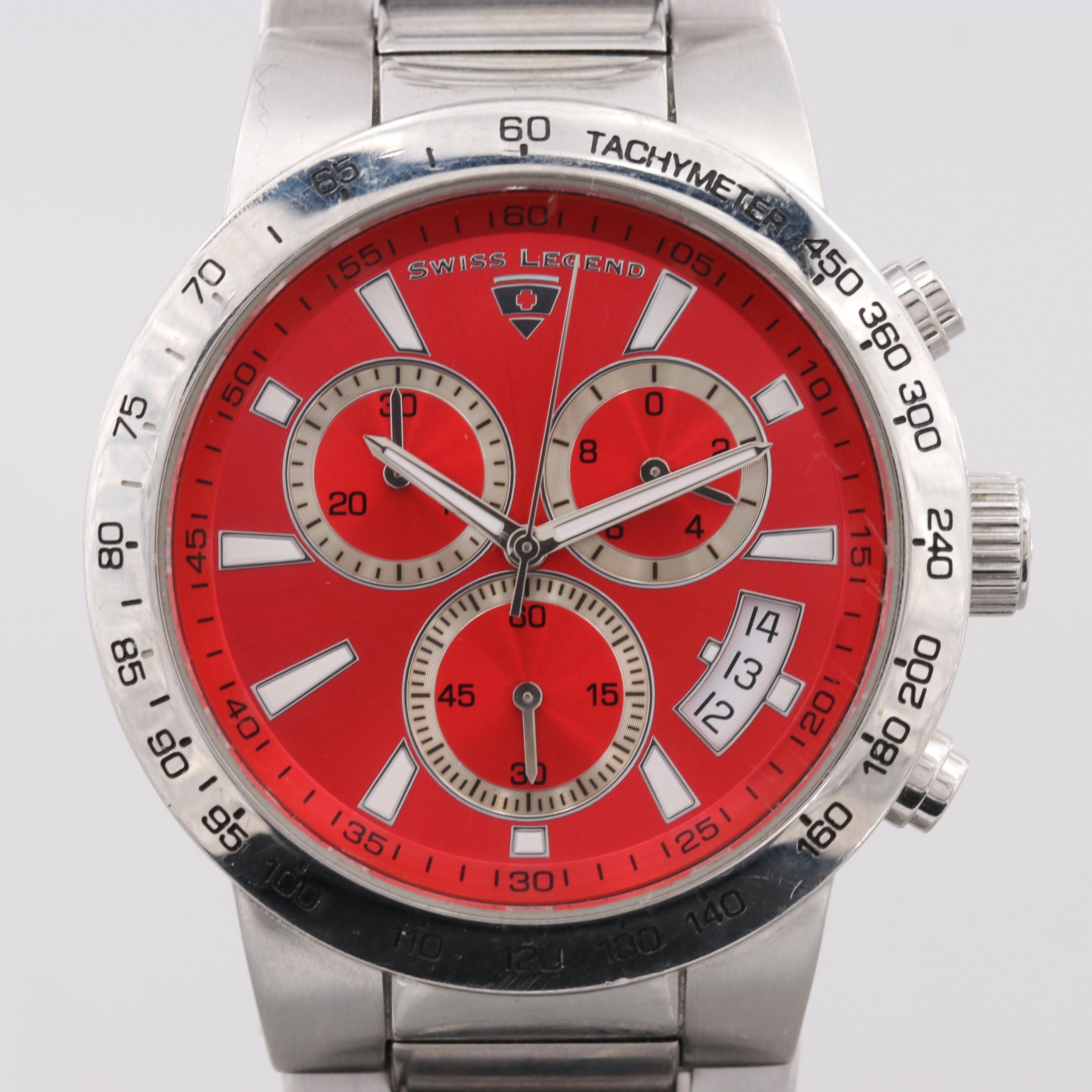 Swiss Legend Endurance Stainless Steel Chronograph Wristwatch With Date Window