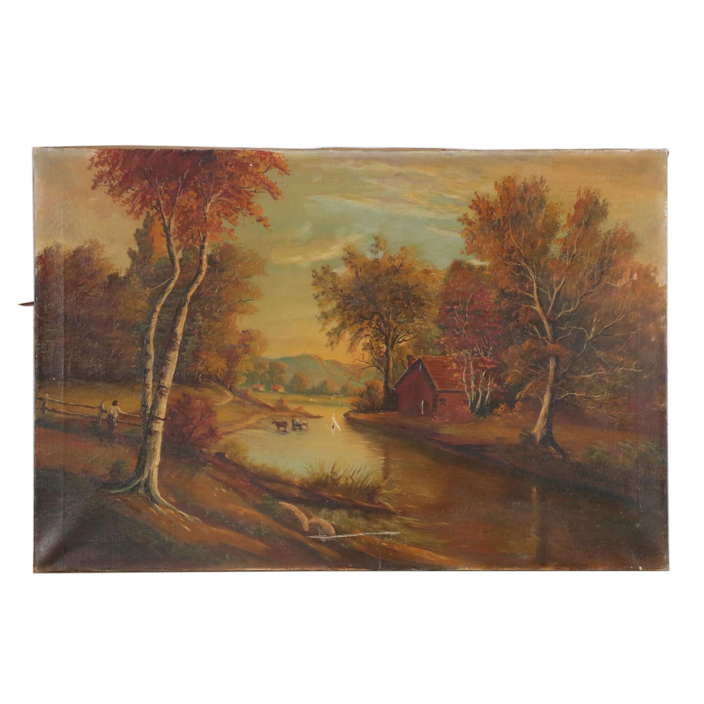 F. Crane Folk Landscape Oil Painting