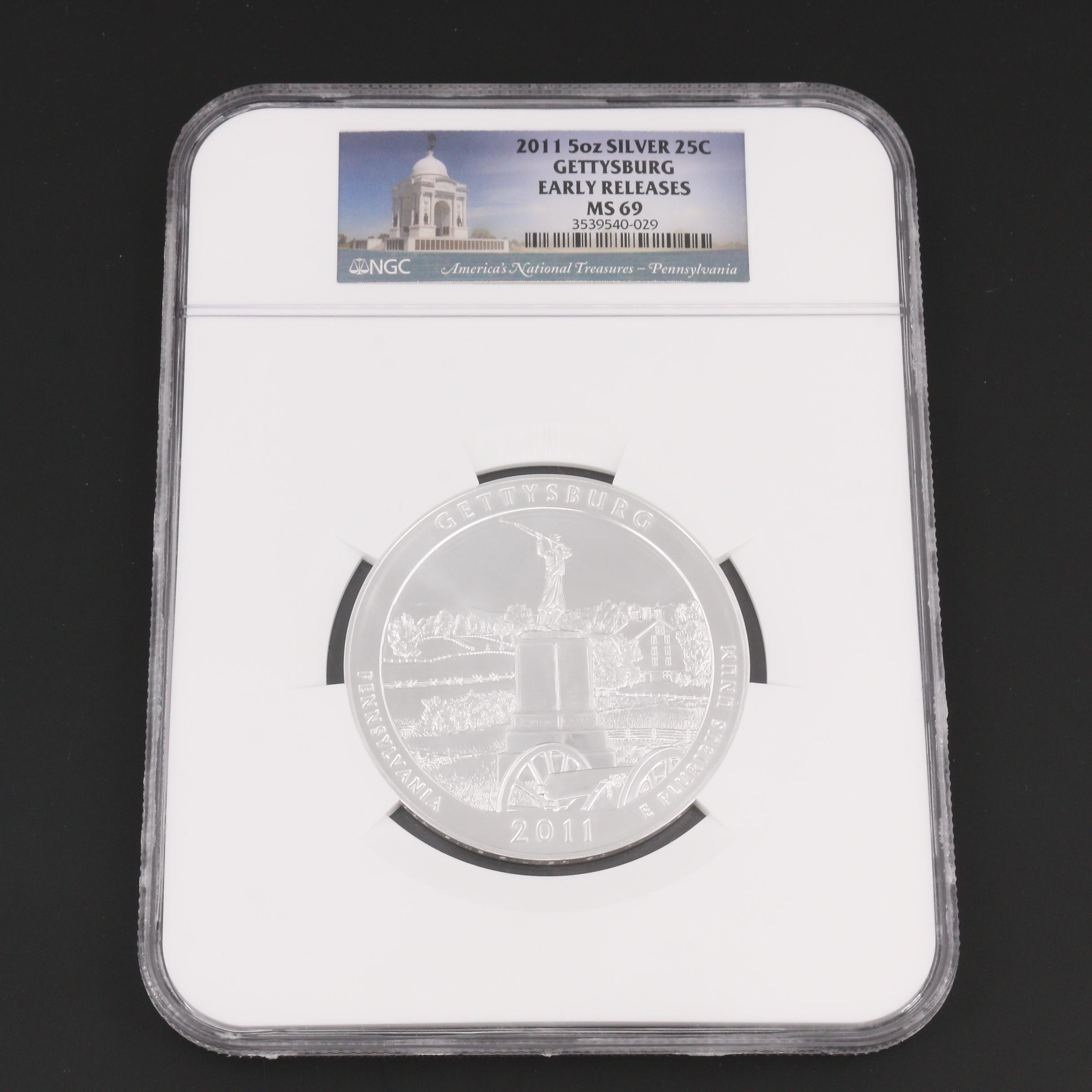 """NGC Graded 2011 """"America The Beautiful"""" Five Ounce Commemorative Gettysburg Coin"""