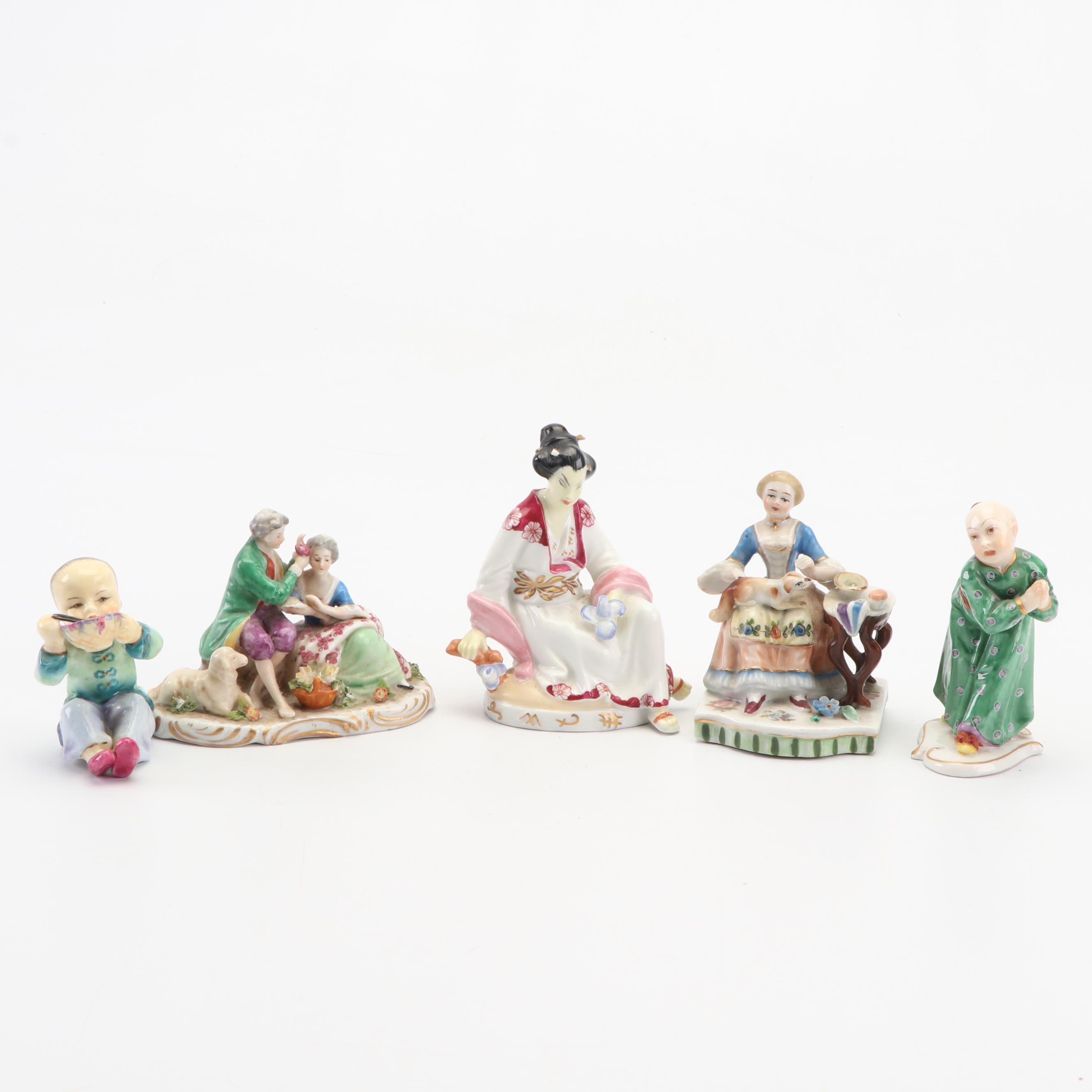 Collection of Porcelain Figurines Including Royal Worcester