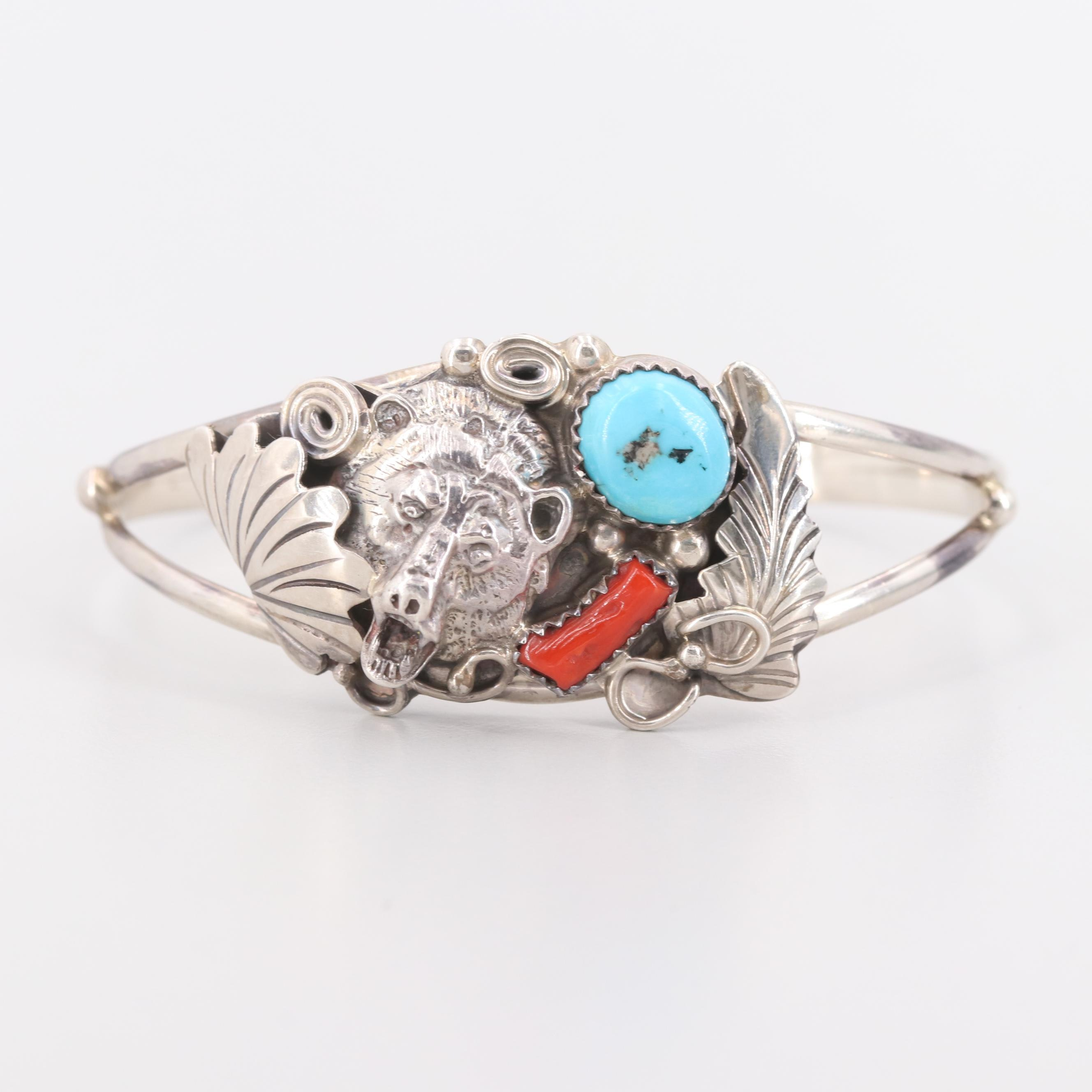 Running Bear Shop Sterling Silver Turquoise and Branch Coral Cuff Bracelet