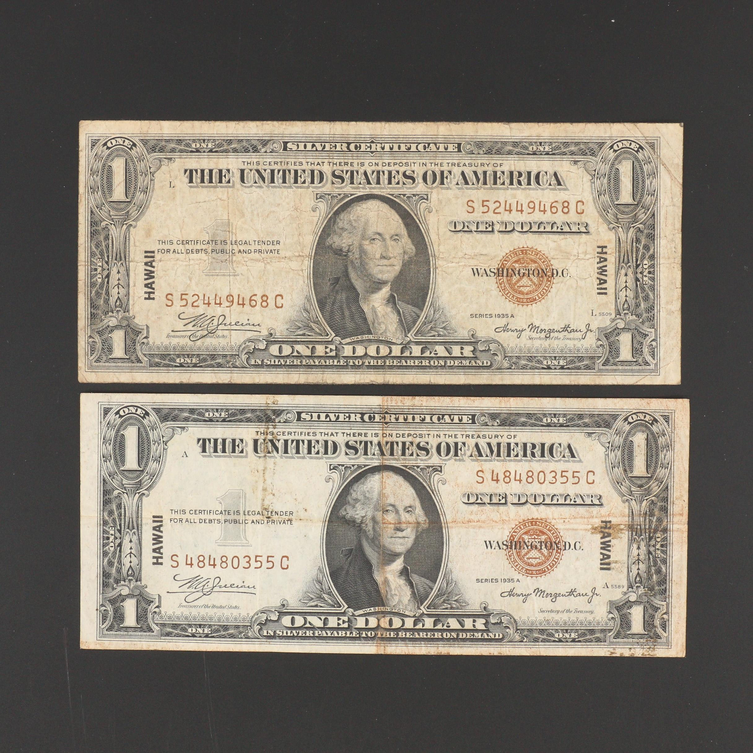 Two 1935 A Brown Seal Hawaii $1 Silver Certificates
