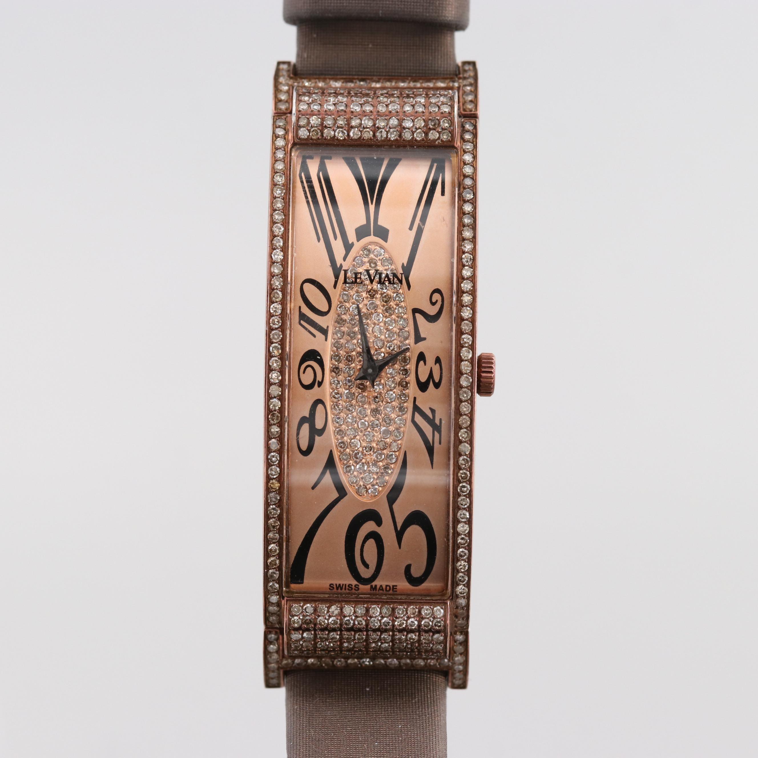Le Vian Deco Estate 2.12 CTW Chocolate Diamond Quartz Wristwatch