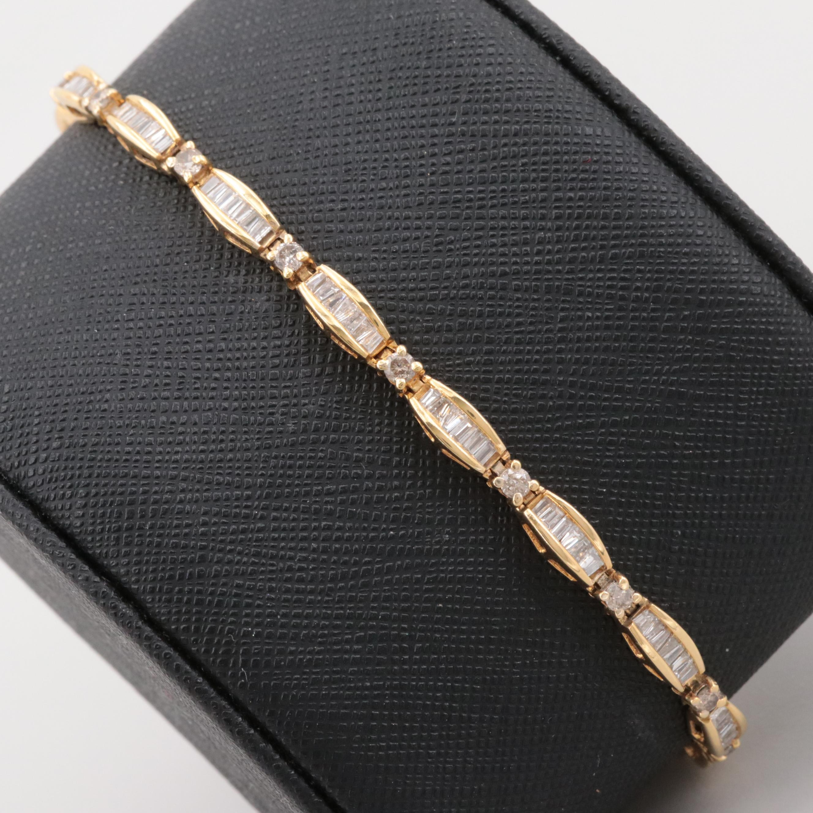 14K Yellow Gold 2.41 CTW Diamond Tennis Bracelet