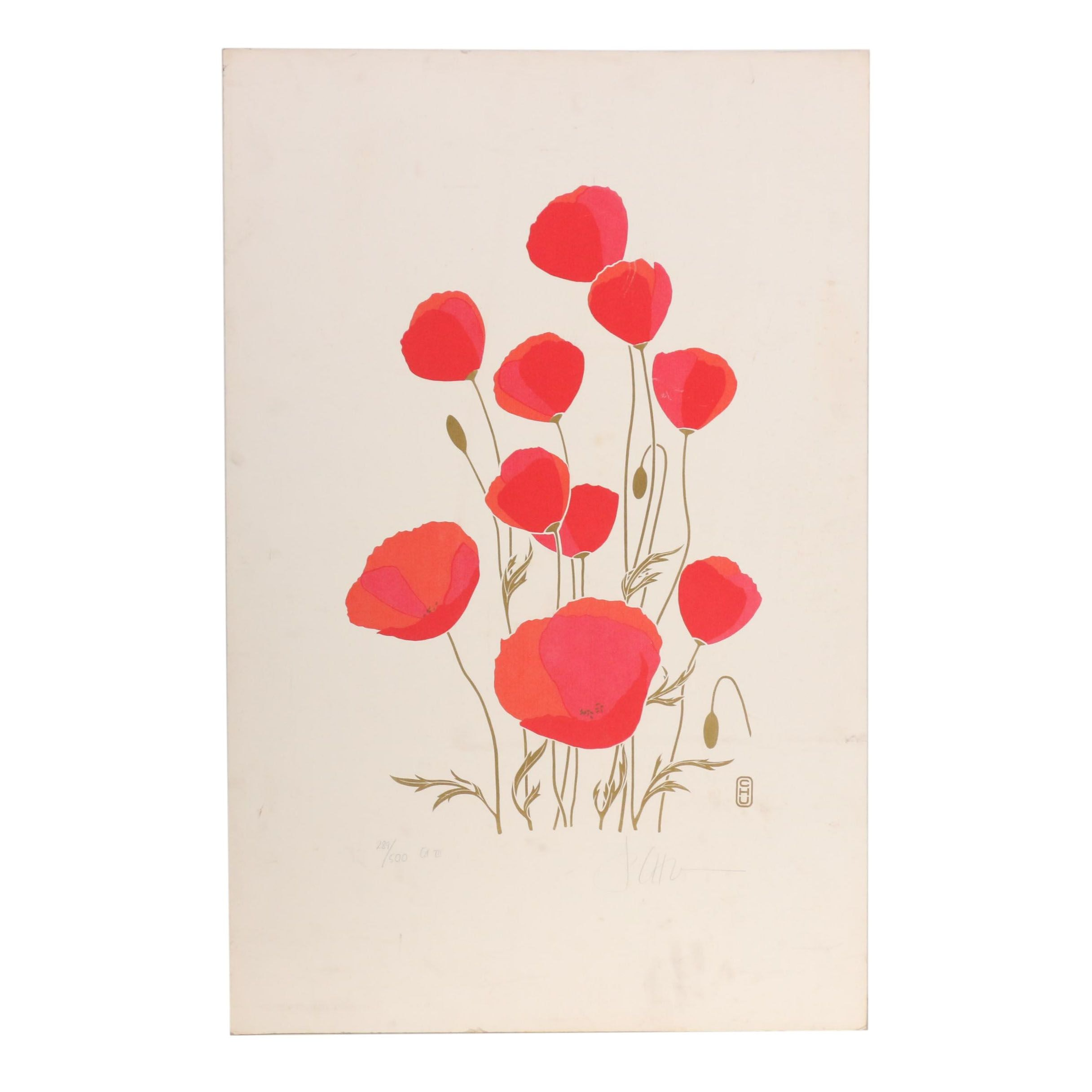 P. Chu Serigraph of Poppies