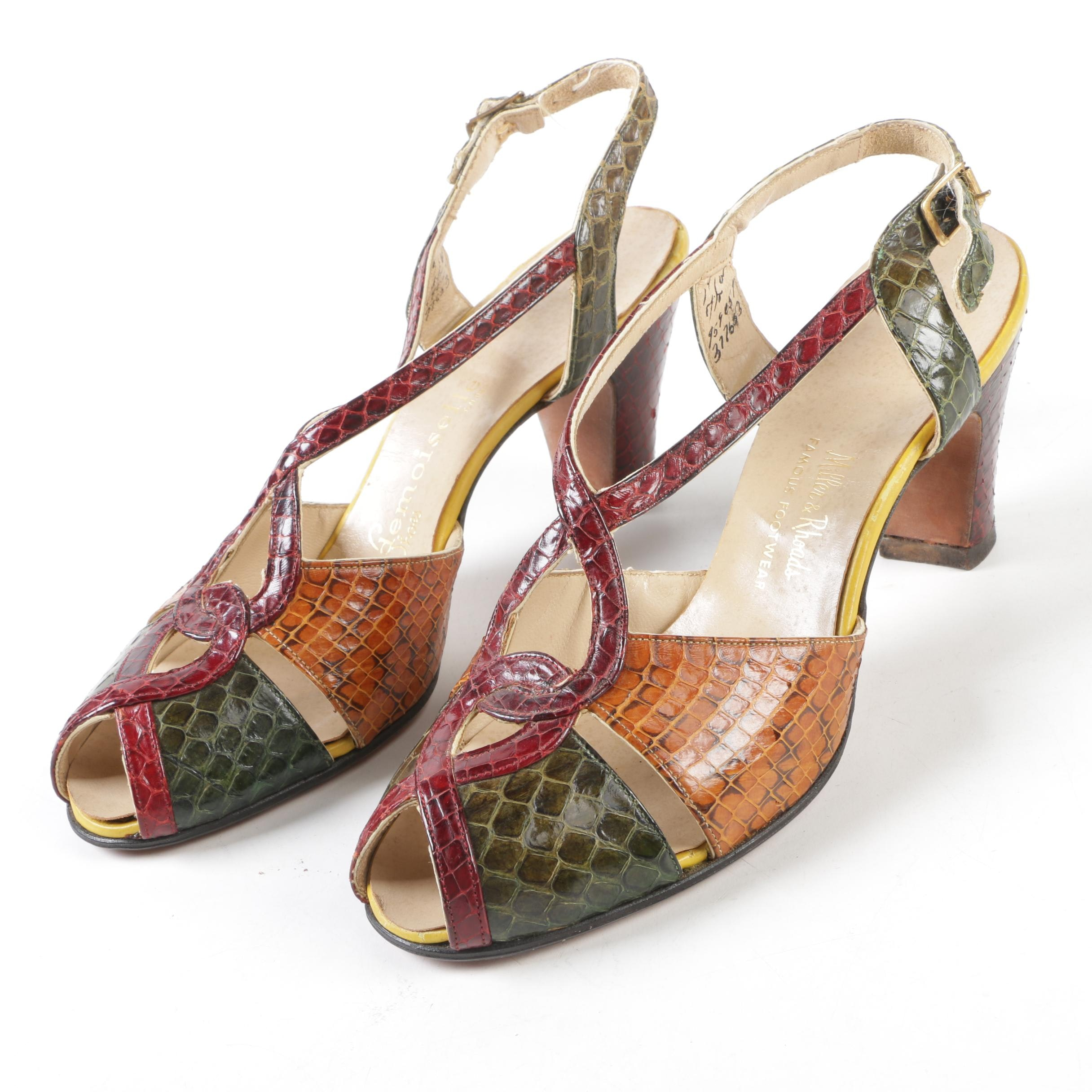 Mademoiselle Shoes Snakeskin Open Toe Strappy Sandals, Vintage