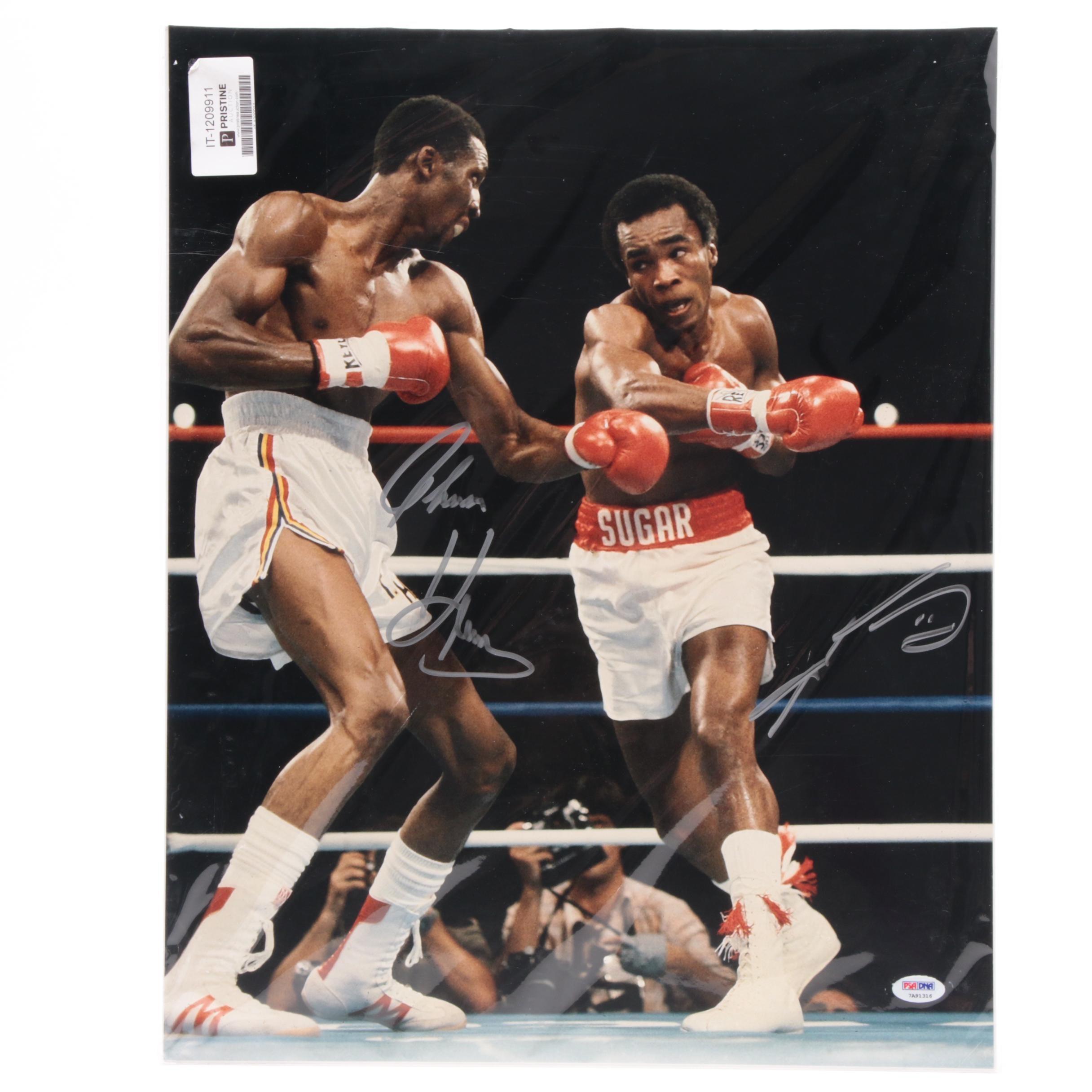 Tommy Hearns and Sugar Ray Leonard Signed Large Boxing Photo Print PSA/DNA COA