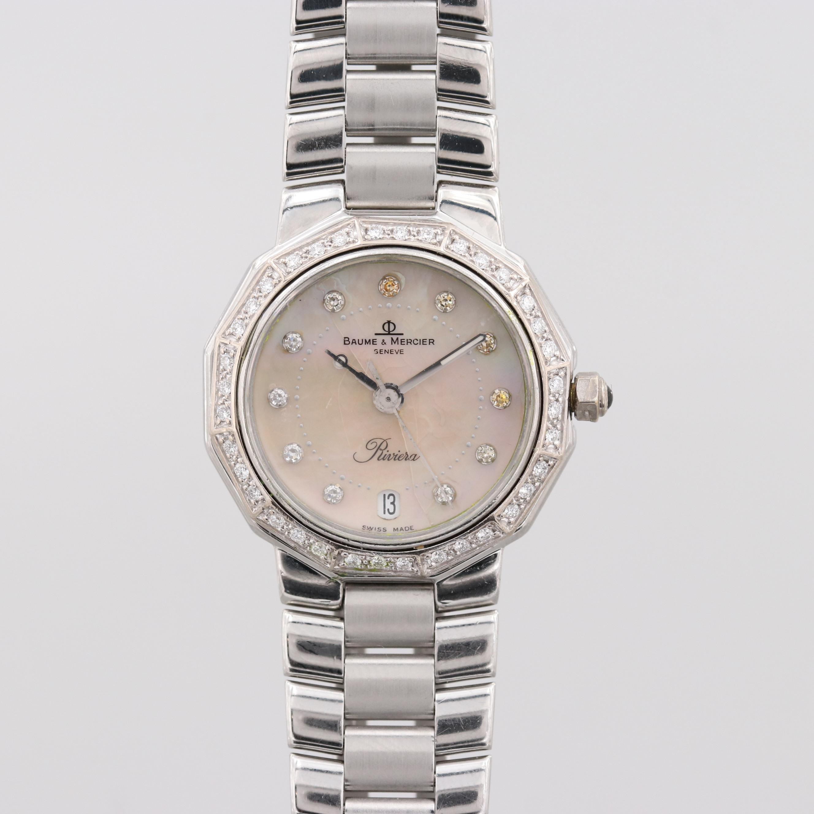 Baume & Mercier Riviera Quartz Wristwatch With Diamond Dial and Bezel