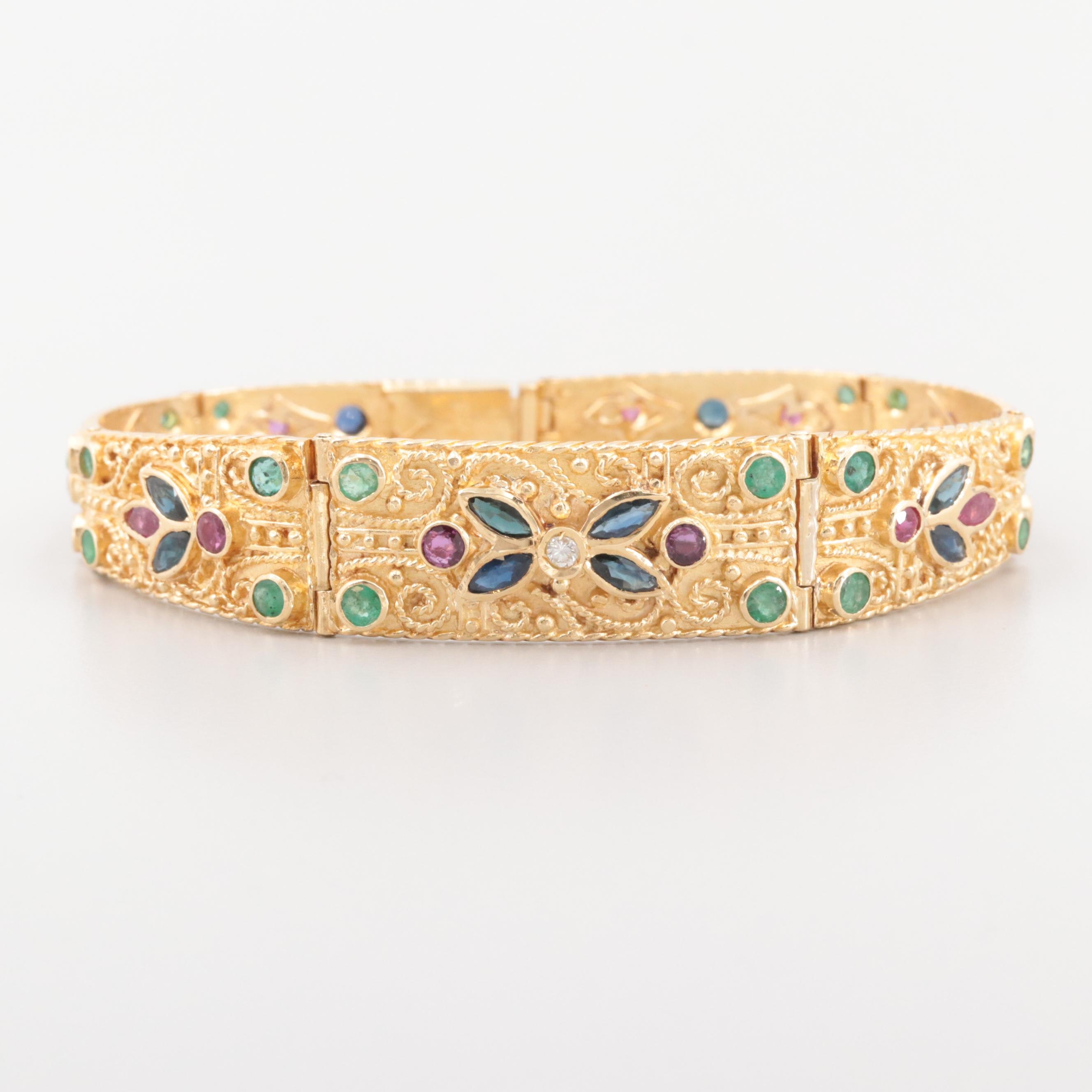 18K Yellow Gold Bracelet with Diamond, Blue Sapphire, Ruby and Emerald Stones