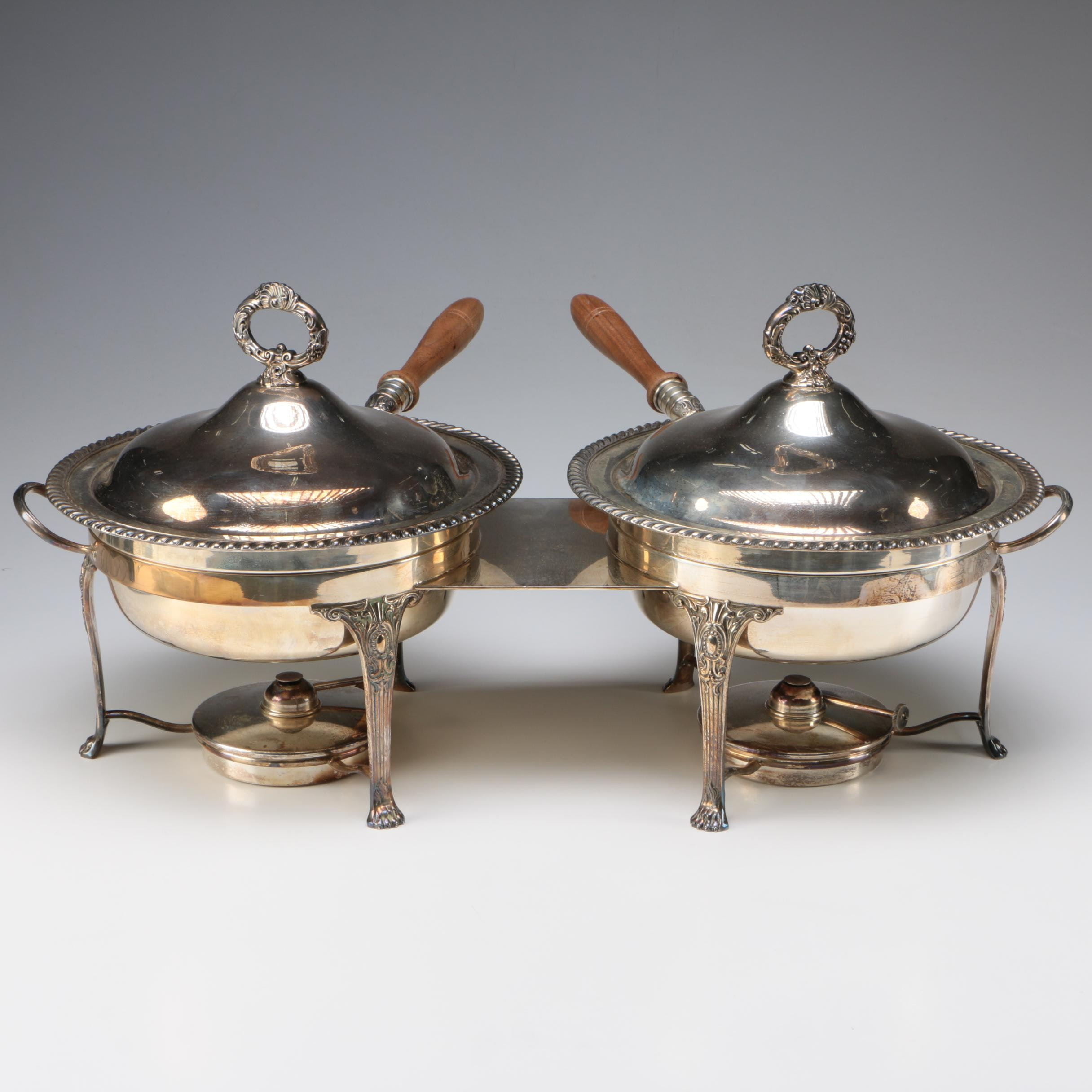 Friedman Silver Plate Dual Chafing Dish, Early 20th Century