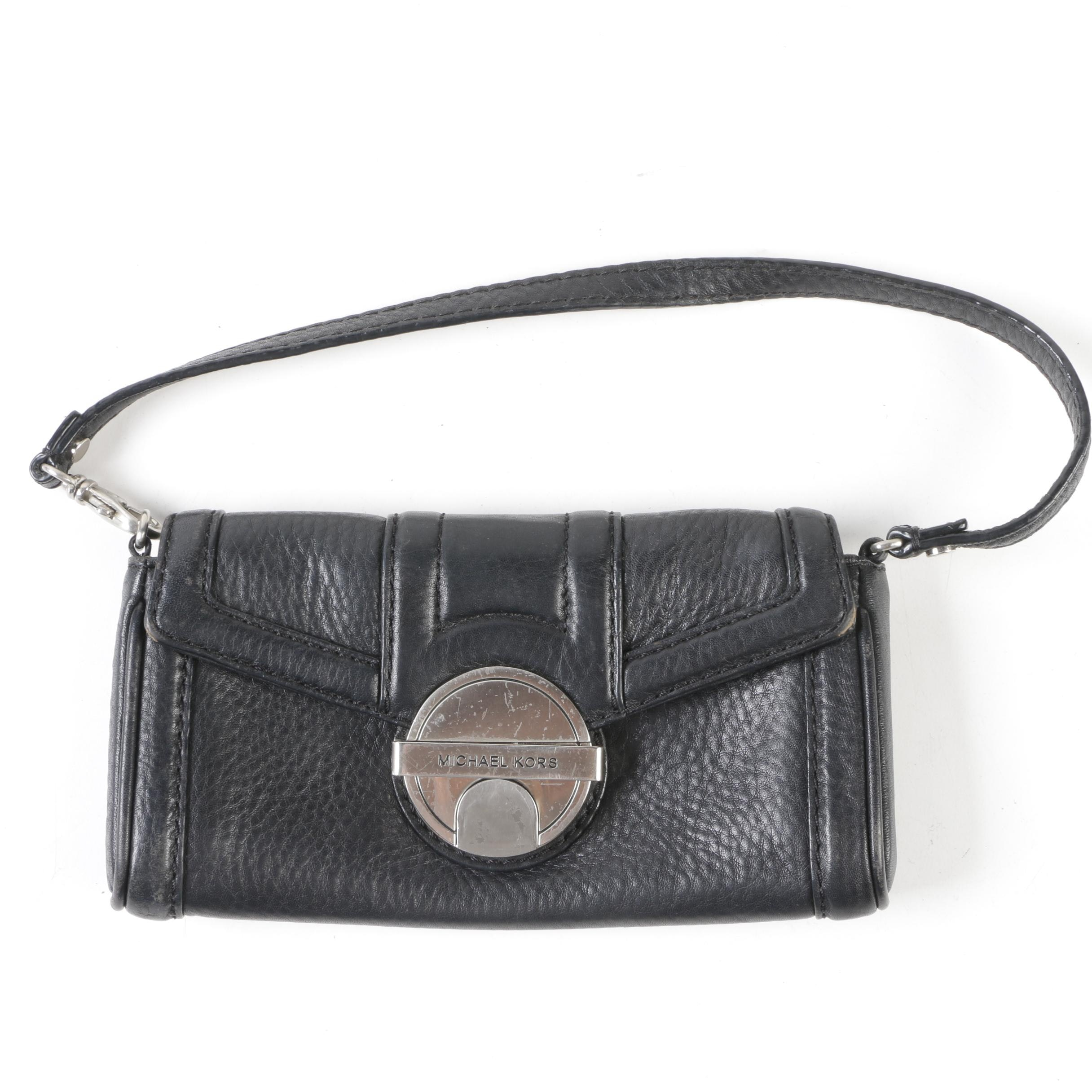 MICHAEL Michael Kors Black Pebbled Leather Mini Handbag
