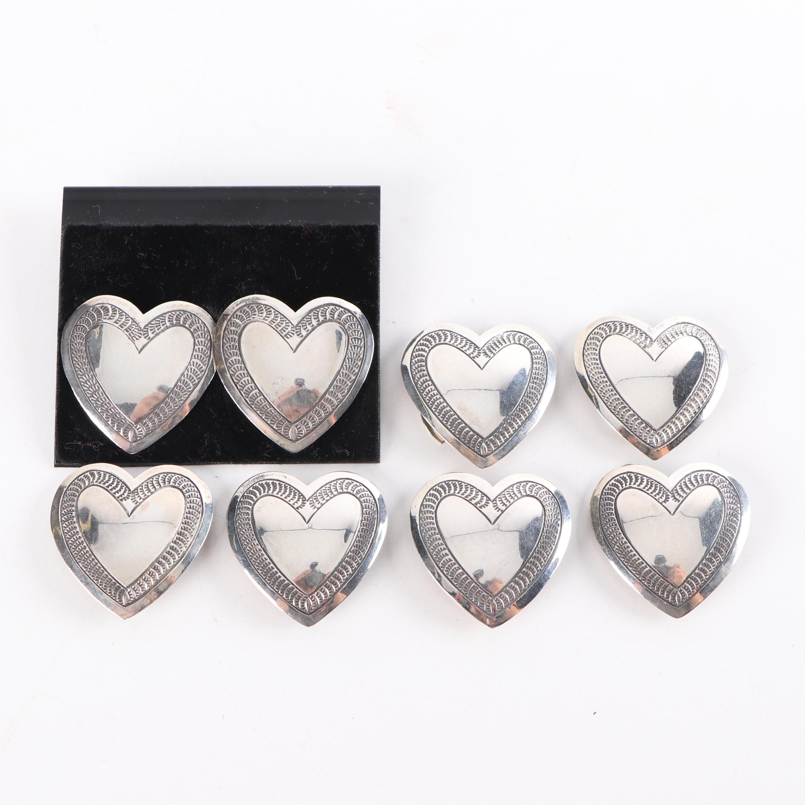 Sterling Silver Heart Stud Earnings and Button Covers