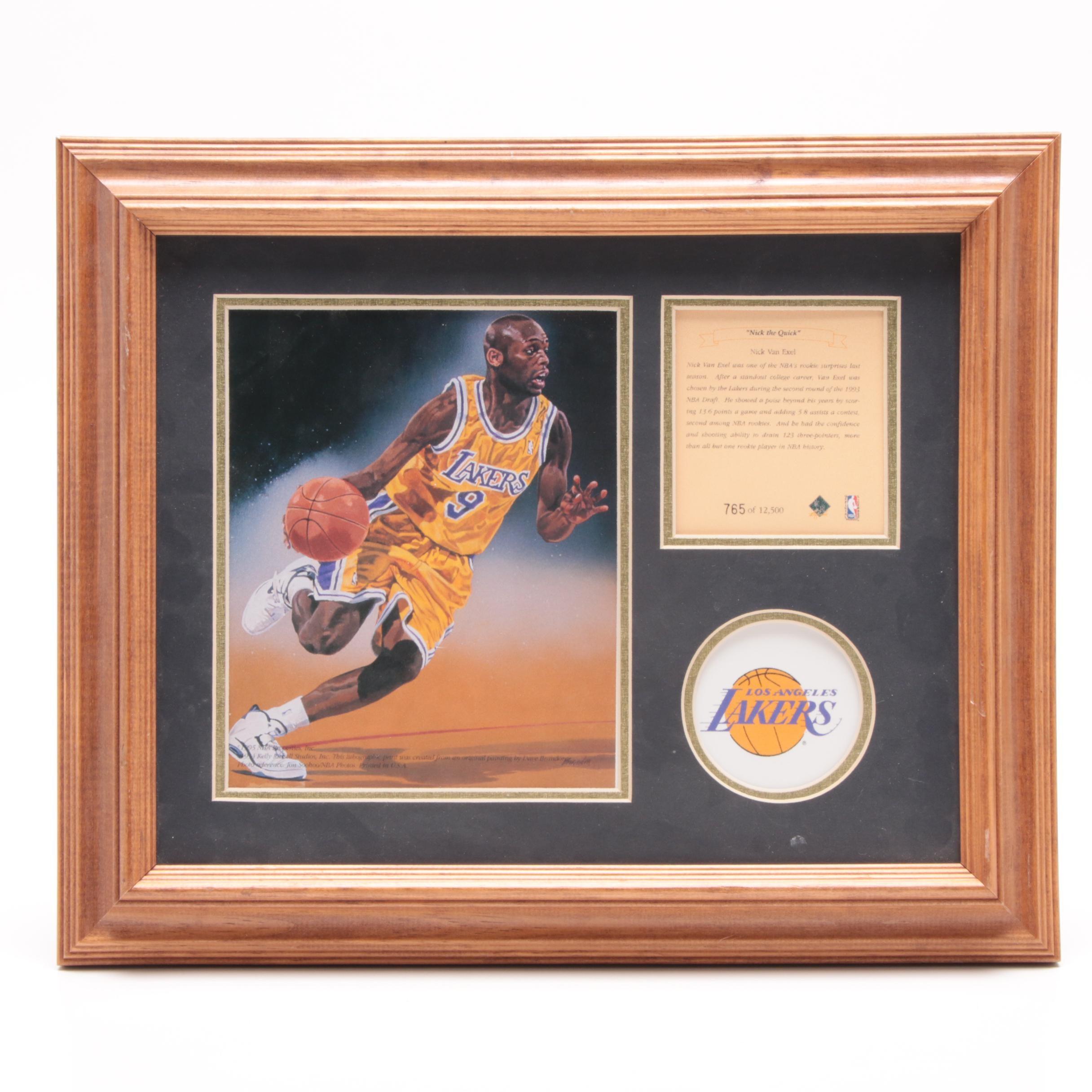 1995 Nick Van Exel Los Angeles Lakers Limited Edition Framed Basketball Display