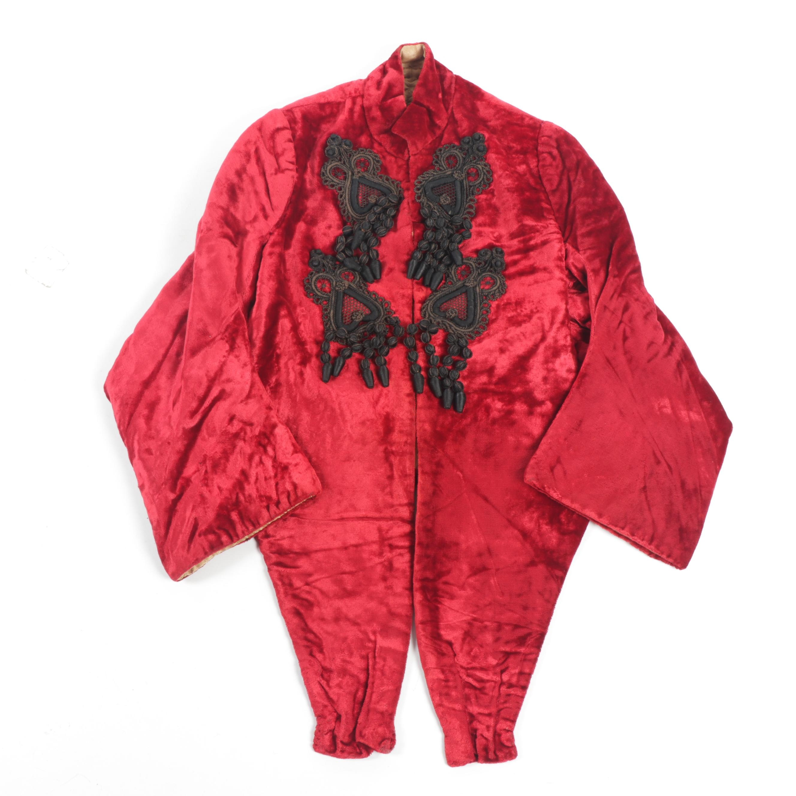 Red Velvet Stole Jacket with Black Ribbon Work Frog Closures and Quilted Lining