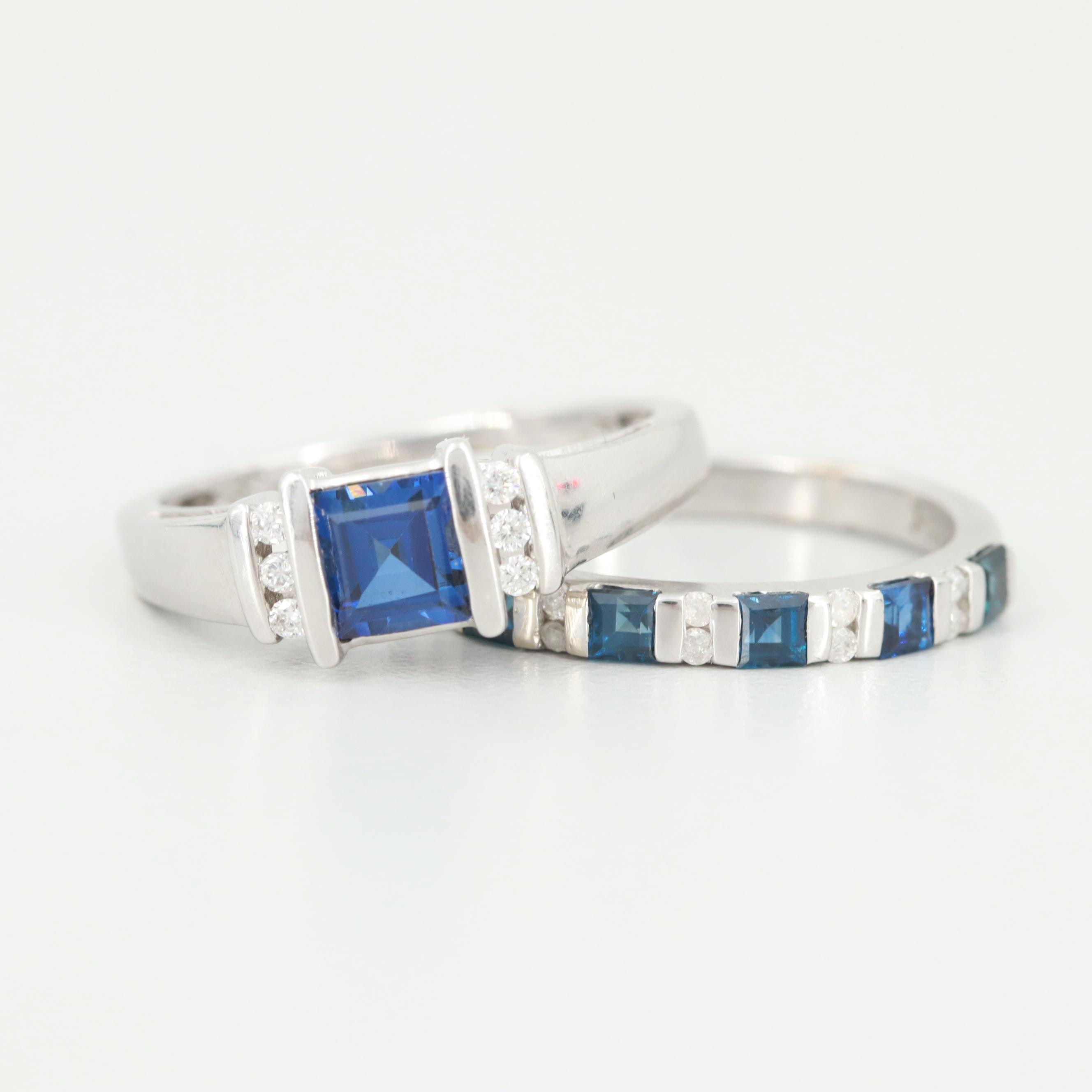 14K White Gold Sapphire and Diamond Ring Set