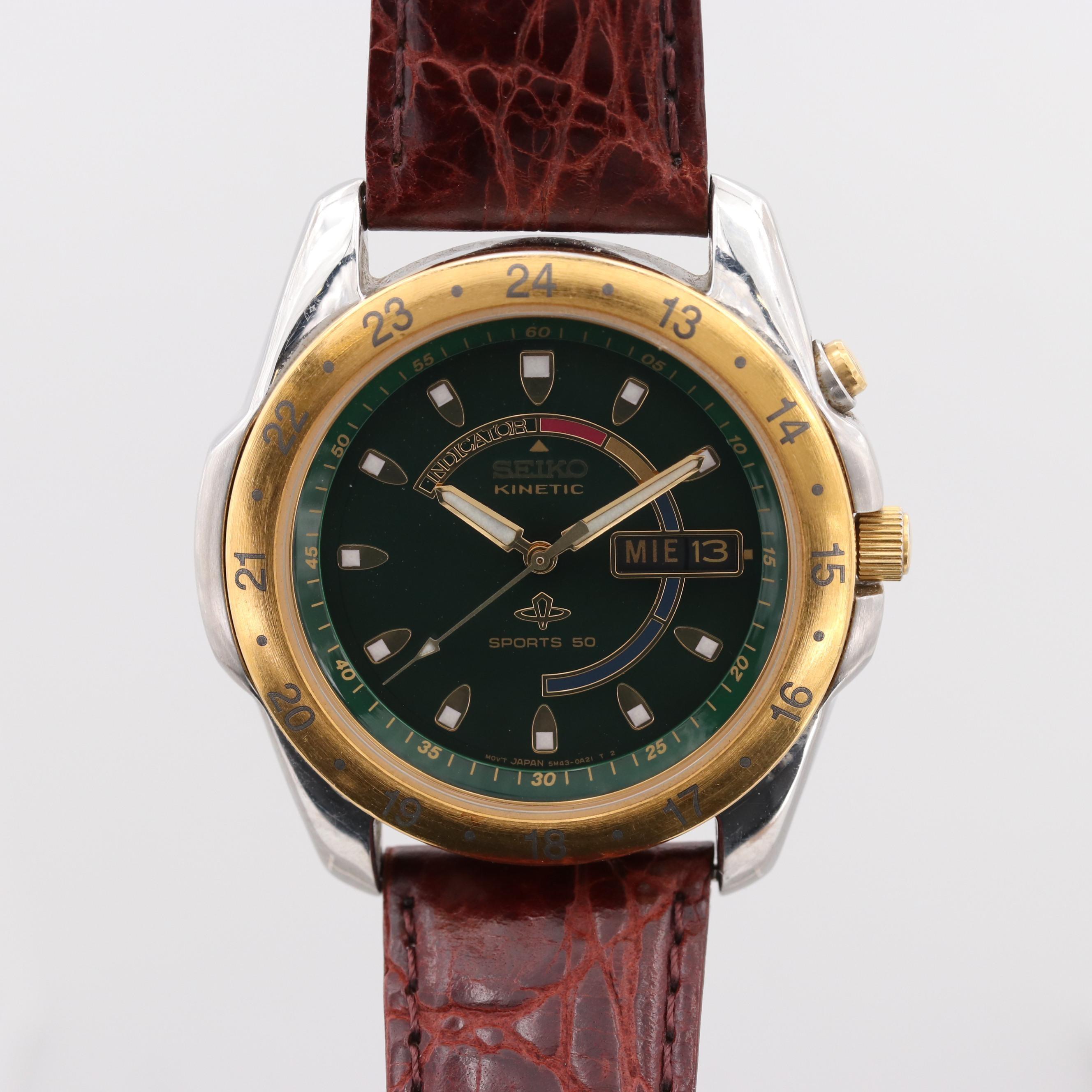 Seiko Kinetic Sports 50 Wristwatch With Day/Date Window