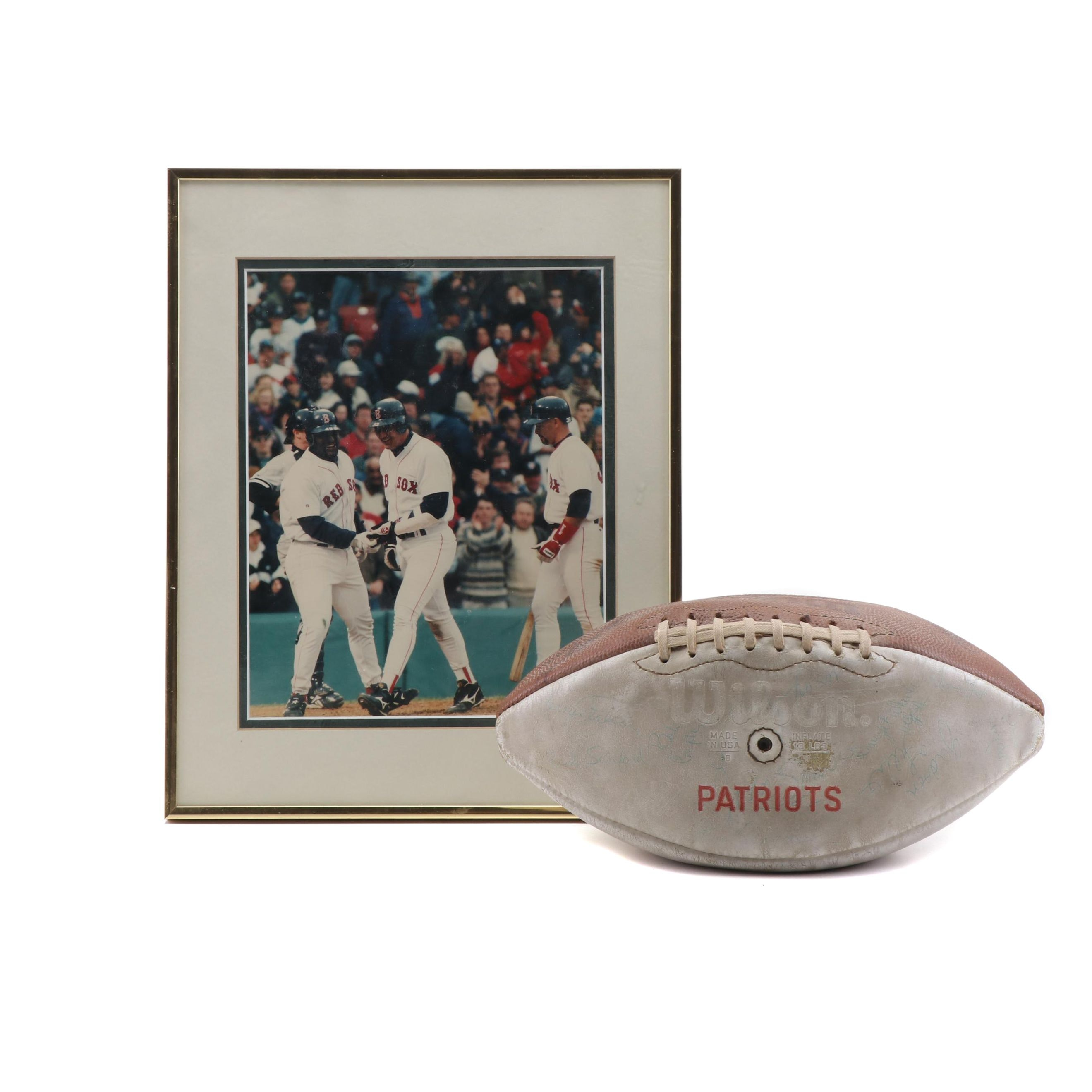 Boston Sport Collectible Including Signed Patriot's Football
