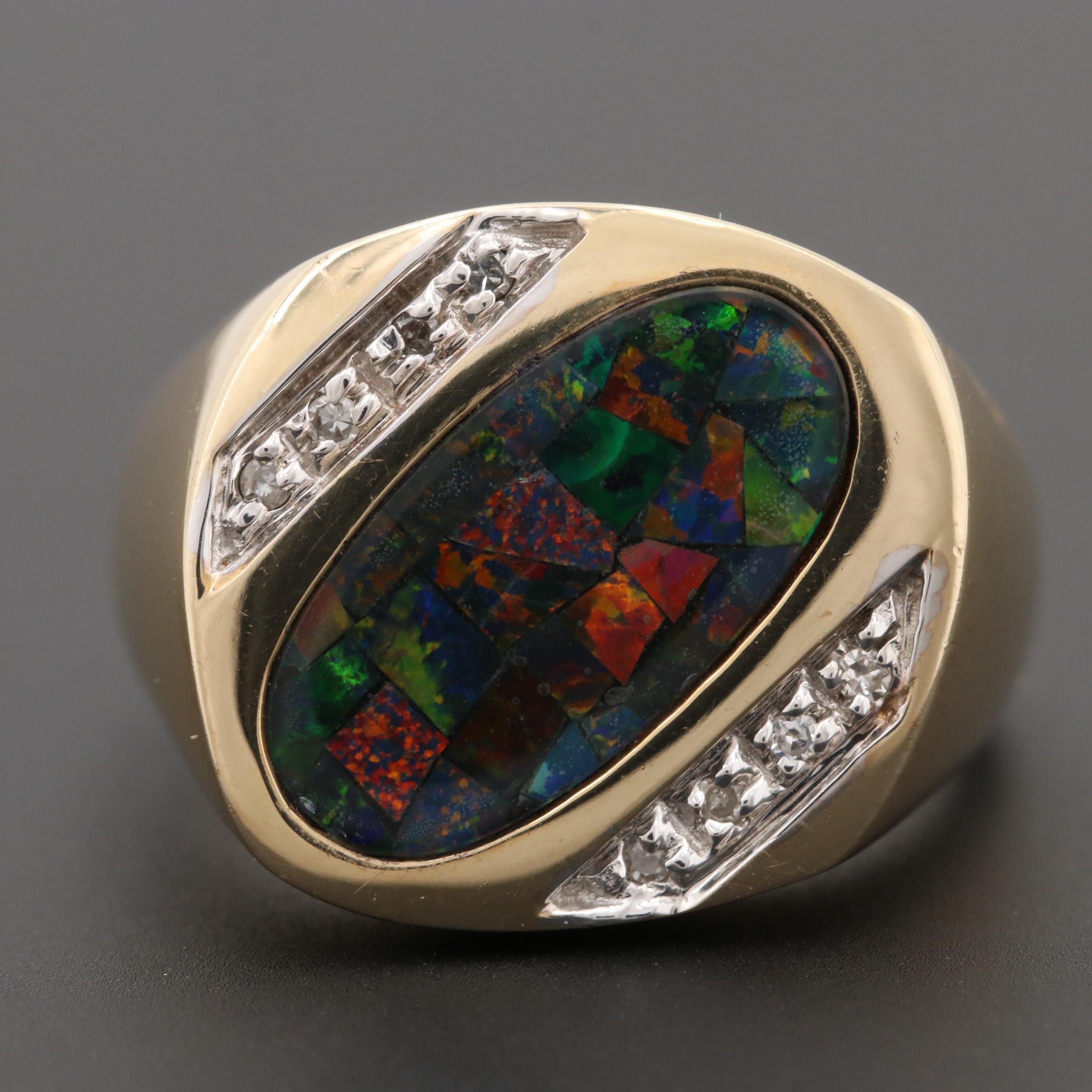 10K Yellow Gold Opal Mosaic Triplet and Diamond Ring