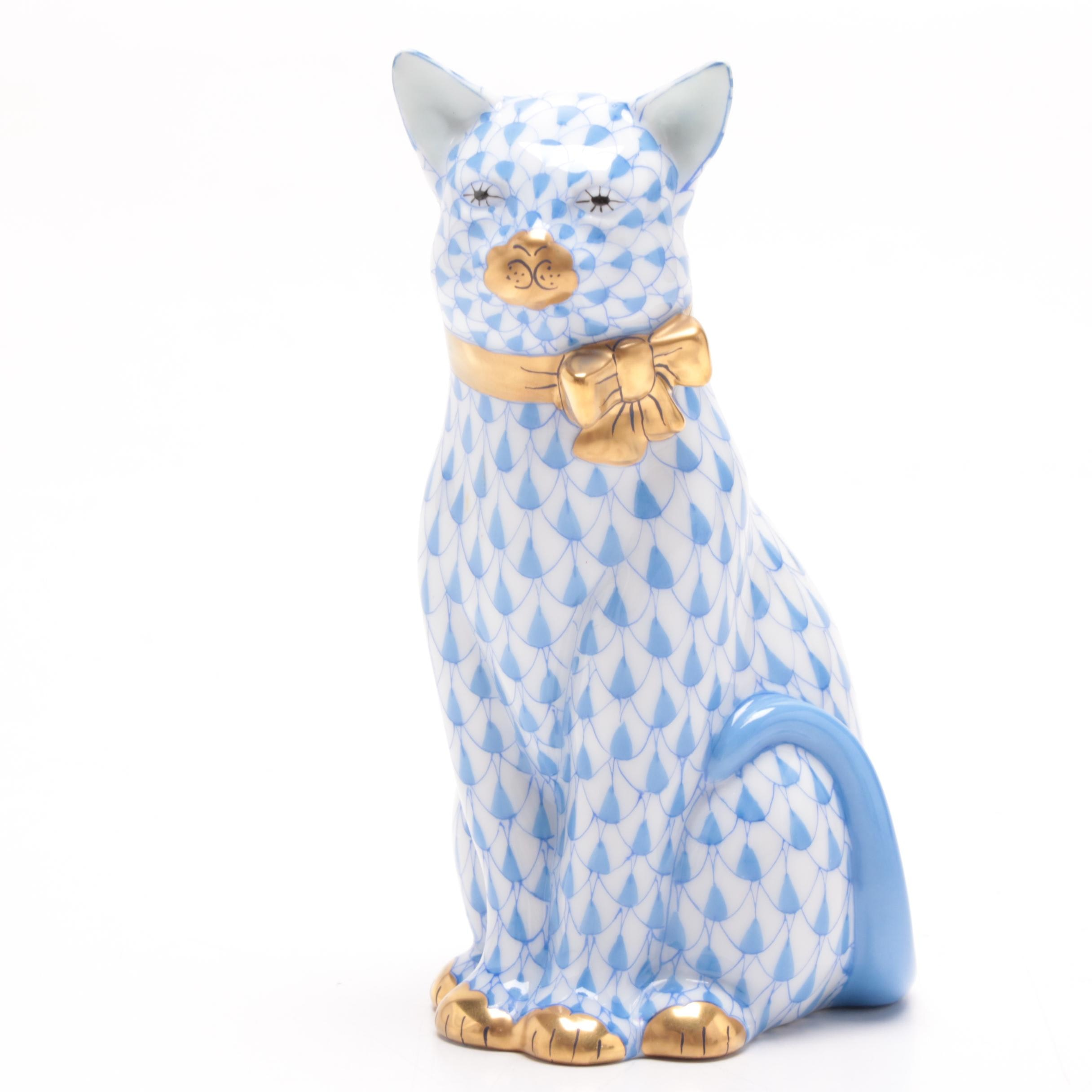 """Herend Hungary """"Cat With Ribbon"""" Hand-Painted Figurine with 24K Gold"""