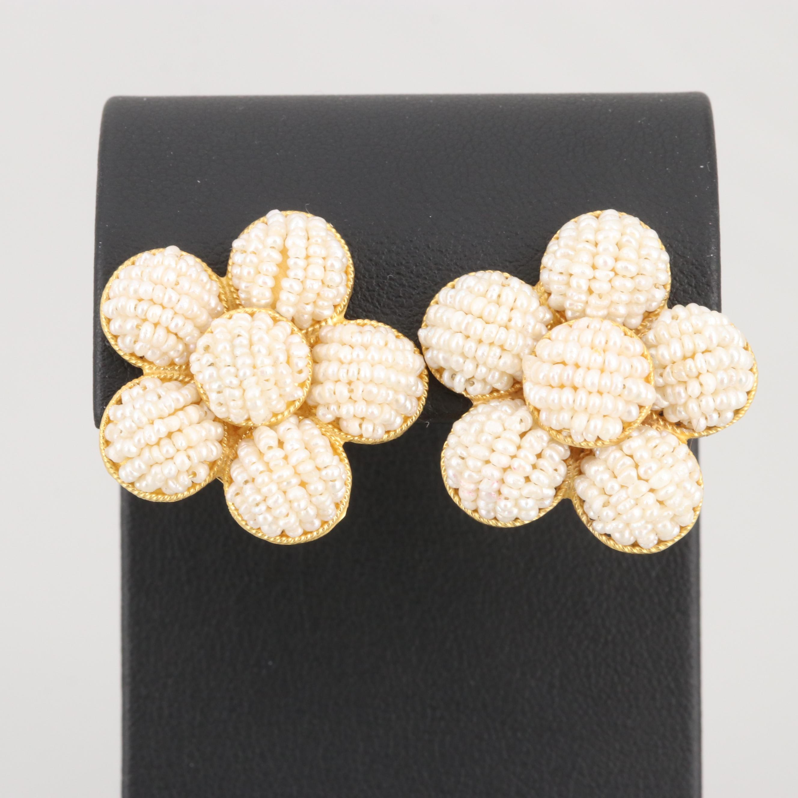 18K Yellow Gold Cultured Pearl Beaded Earrings