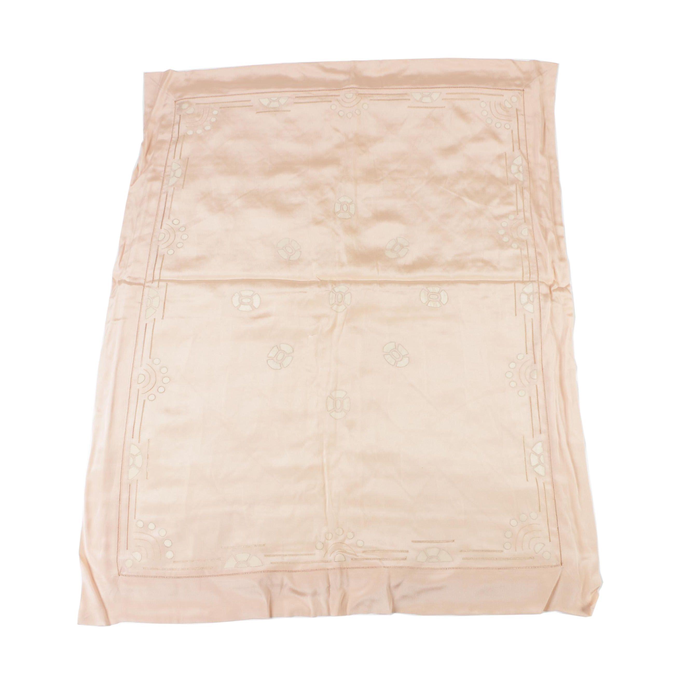 Maison Rouff Paris Peach Silk Appliqued Pram Blanket Cover, circa 1920