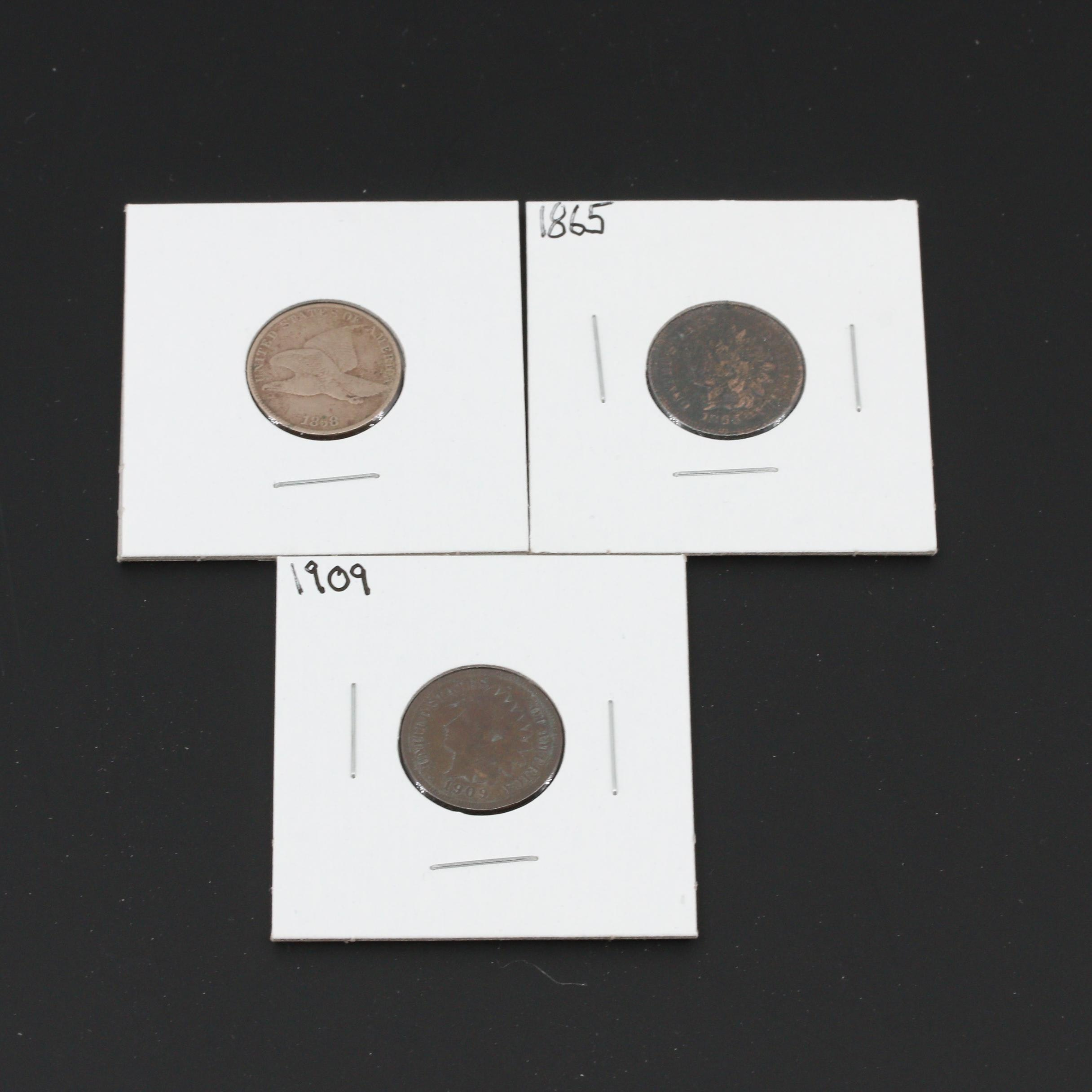 Group of Three Flying Eagle and Indian Head Cents
