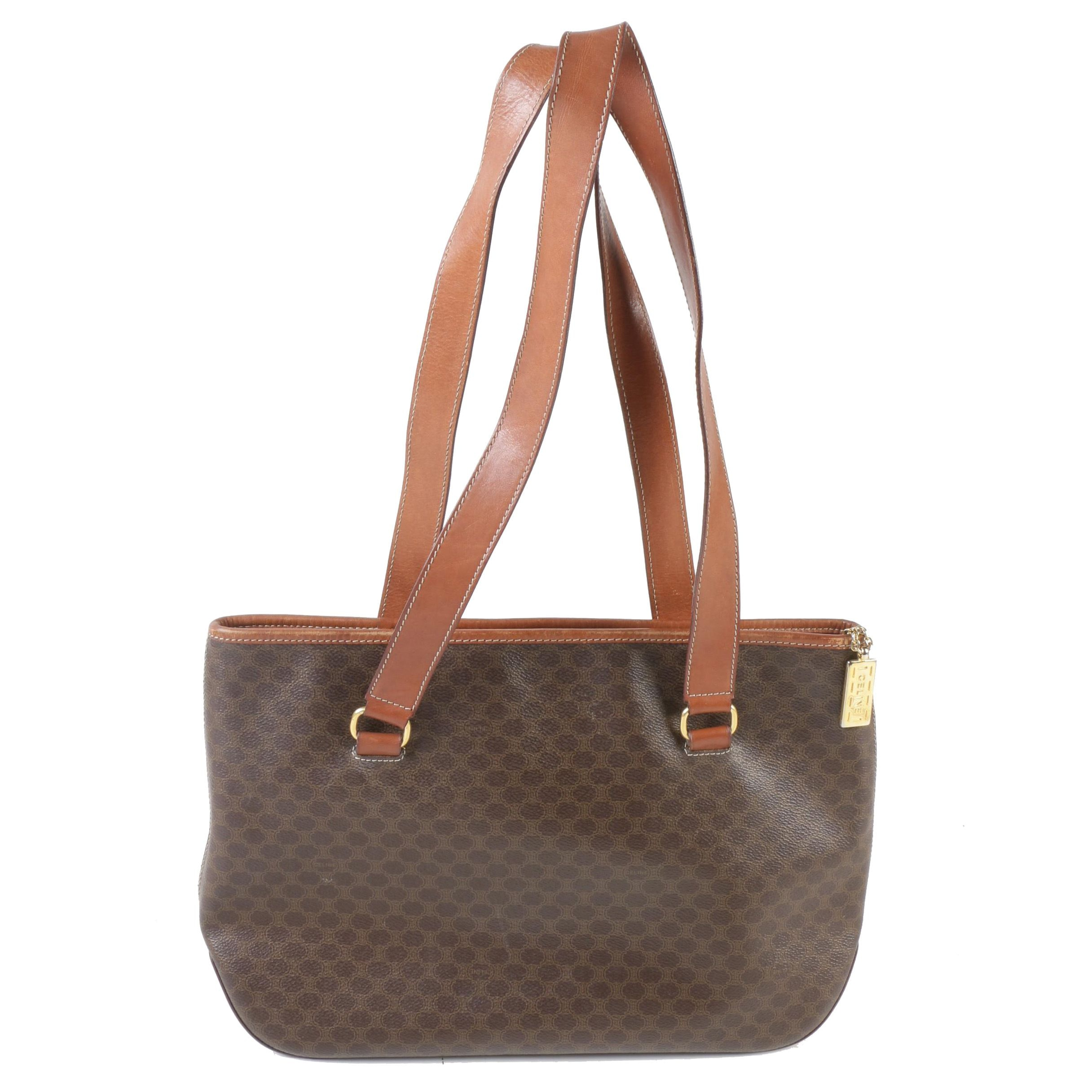 Céline Paris Macadam Canvas and Brown Leather Shoulder Bag Tote