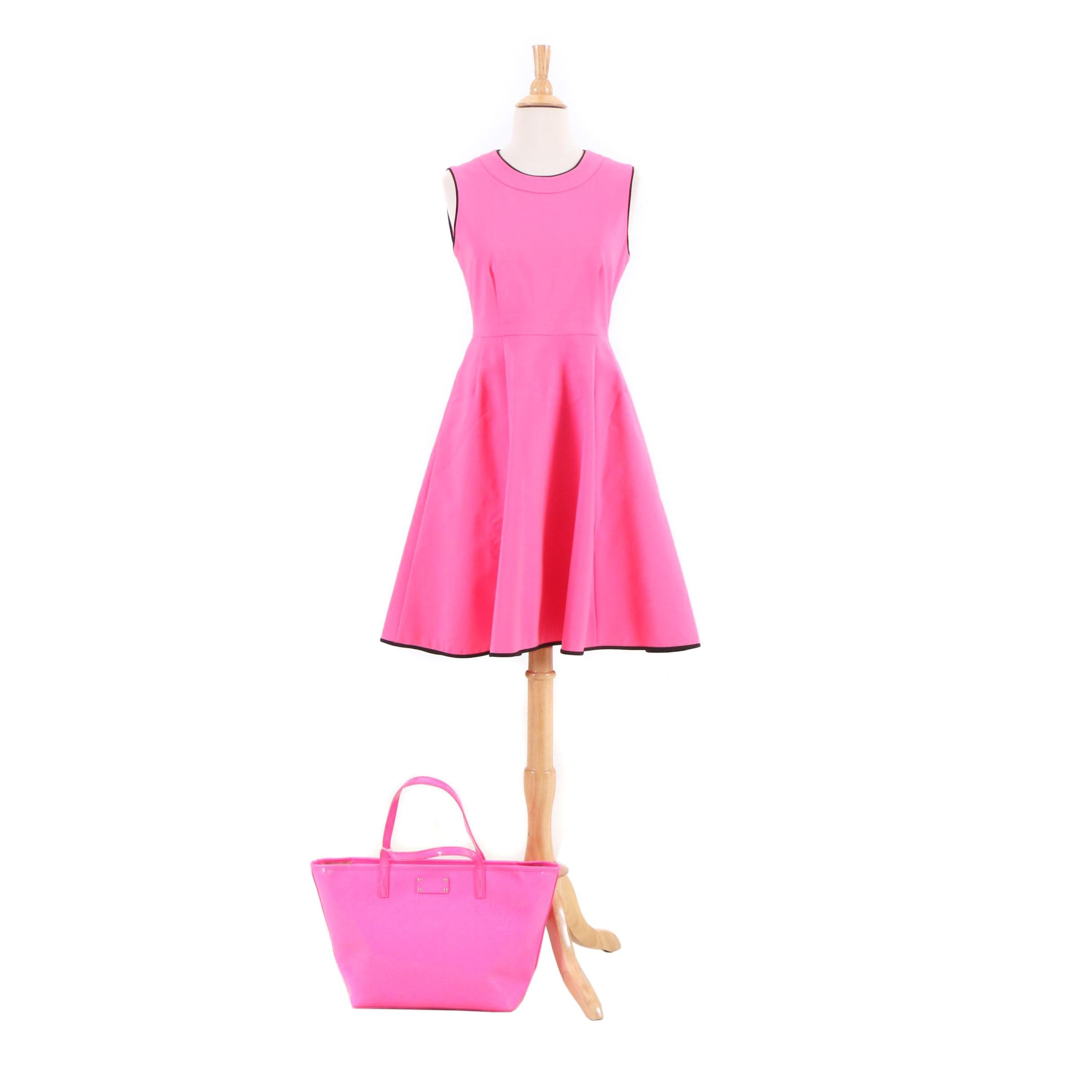 Kate Spade Pink Carol Dress and Hot Pink Harmony Metro Perforated Tote Bag