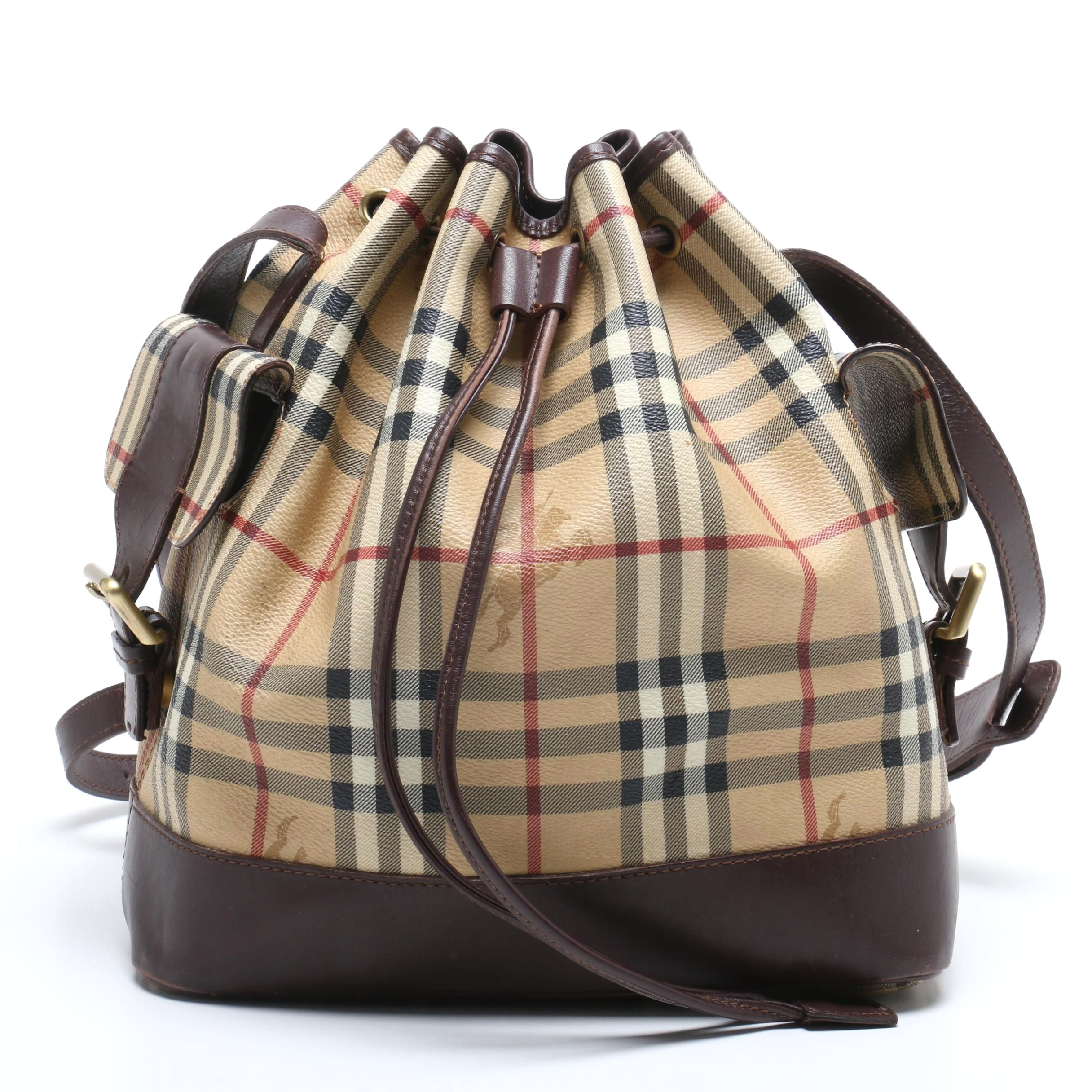"Burberry ""Haymarket Check"" Coated Canvas and Leather Bucket Bag"