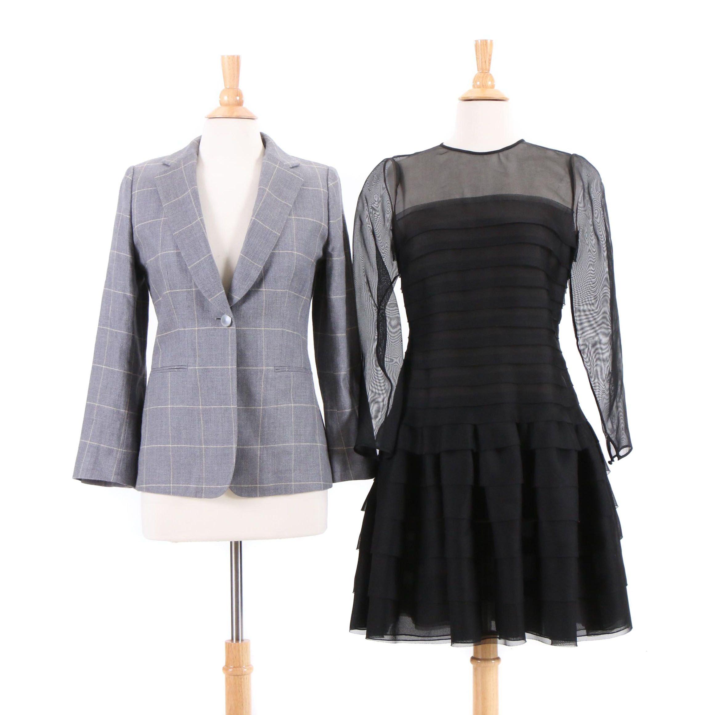 Oscar de la Renta Tiered Silk Dress and Giorgio Armani Cashmere Blend Blazer